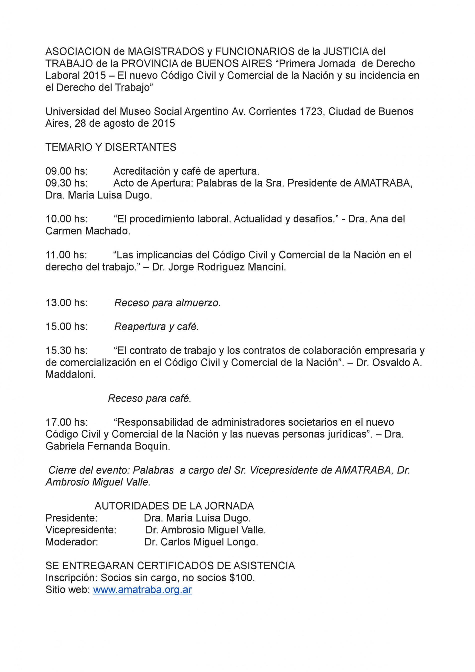 AMATRABA-Primera jornada de Derecho Laboral 2015