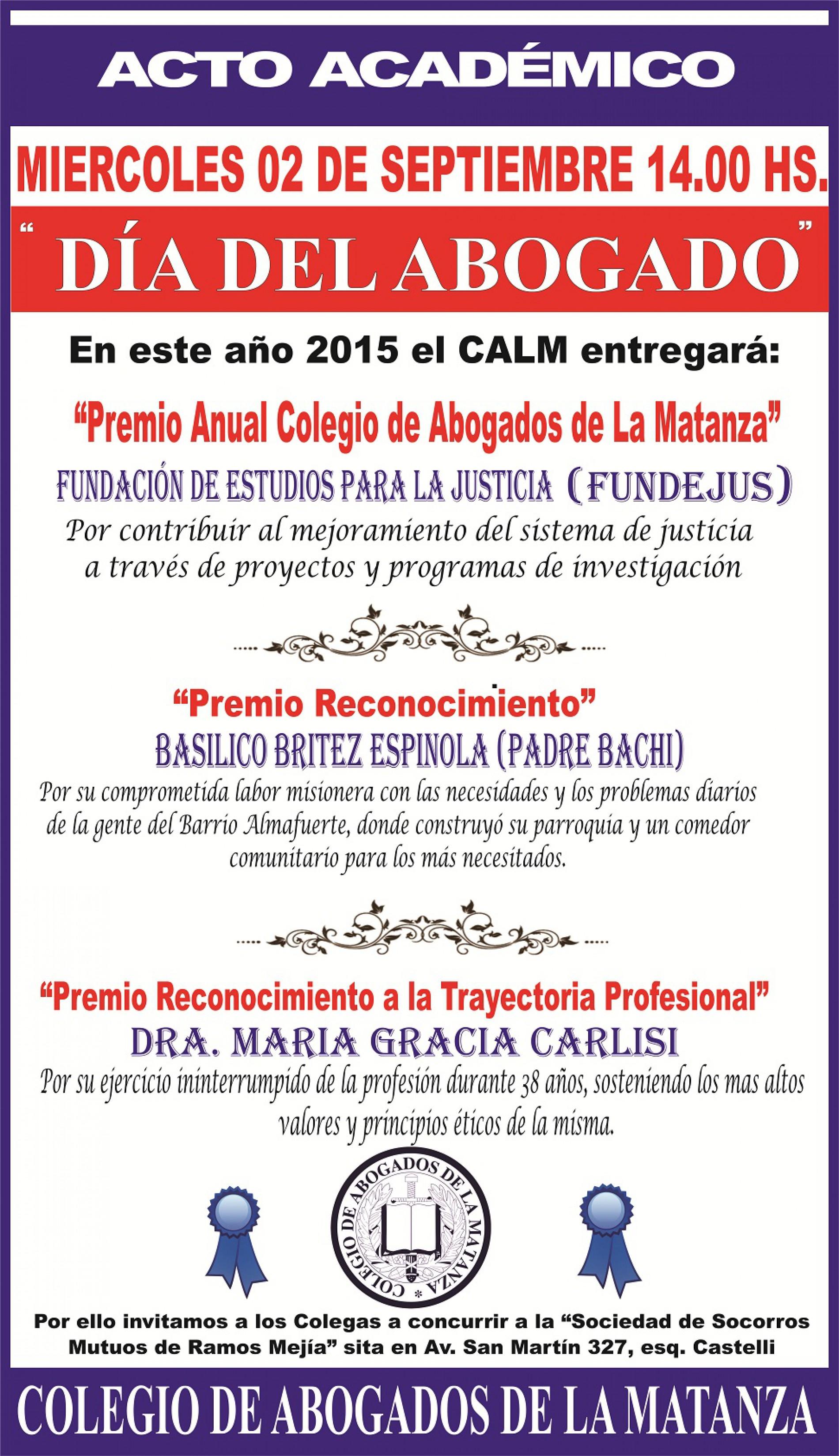 Premio anual Colegio de Abogados de La Matanza
