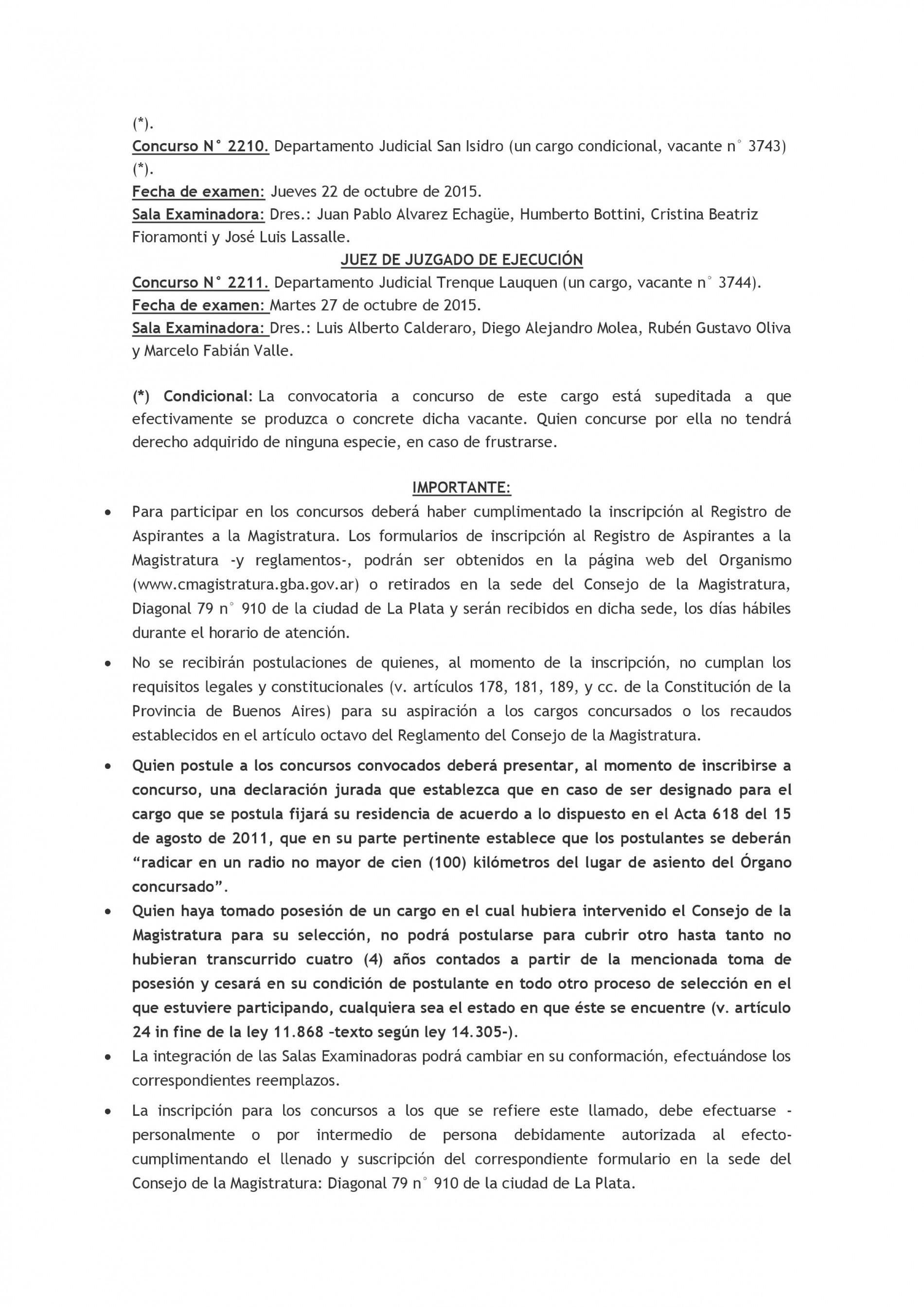 Consejo de la Magistratura Bonaerense (nueva convocatoria)