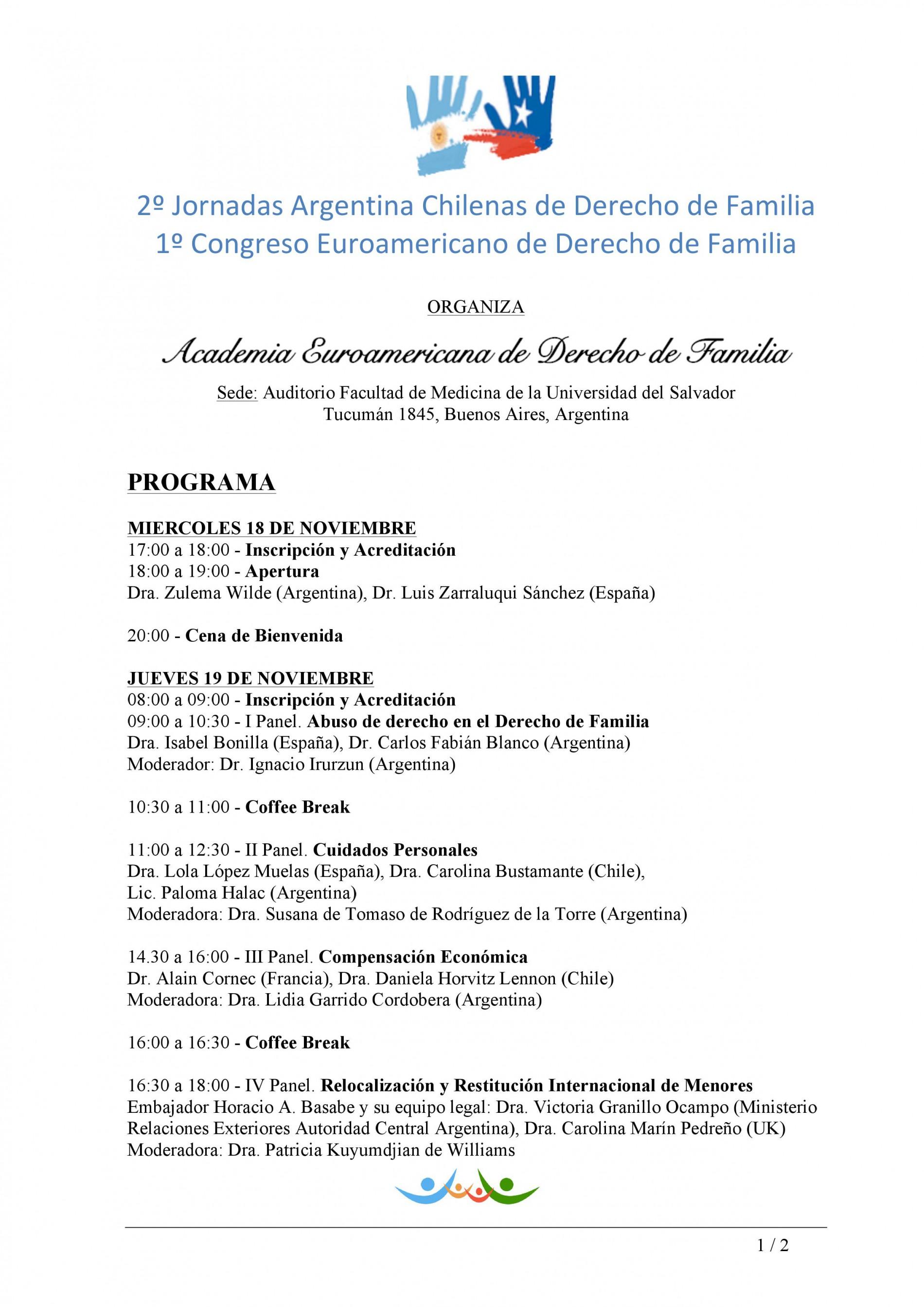 Programa del 1º Congreso Euroamericano de Derecho de Familia