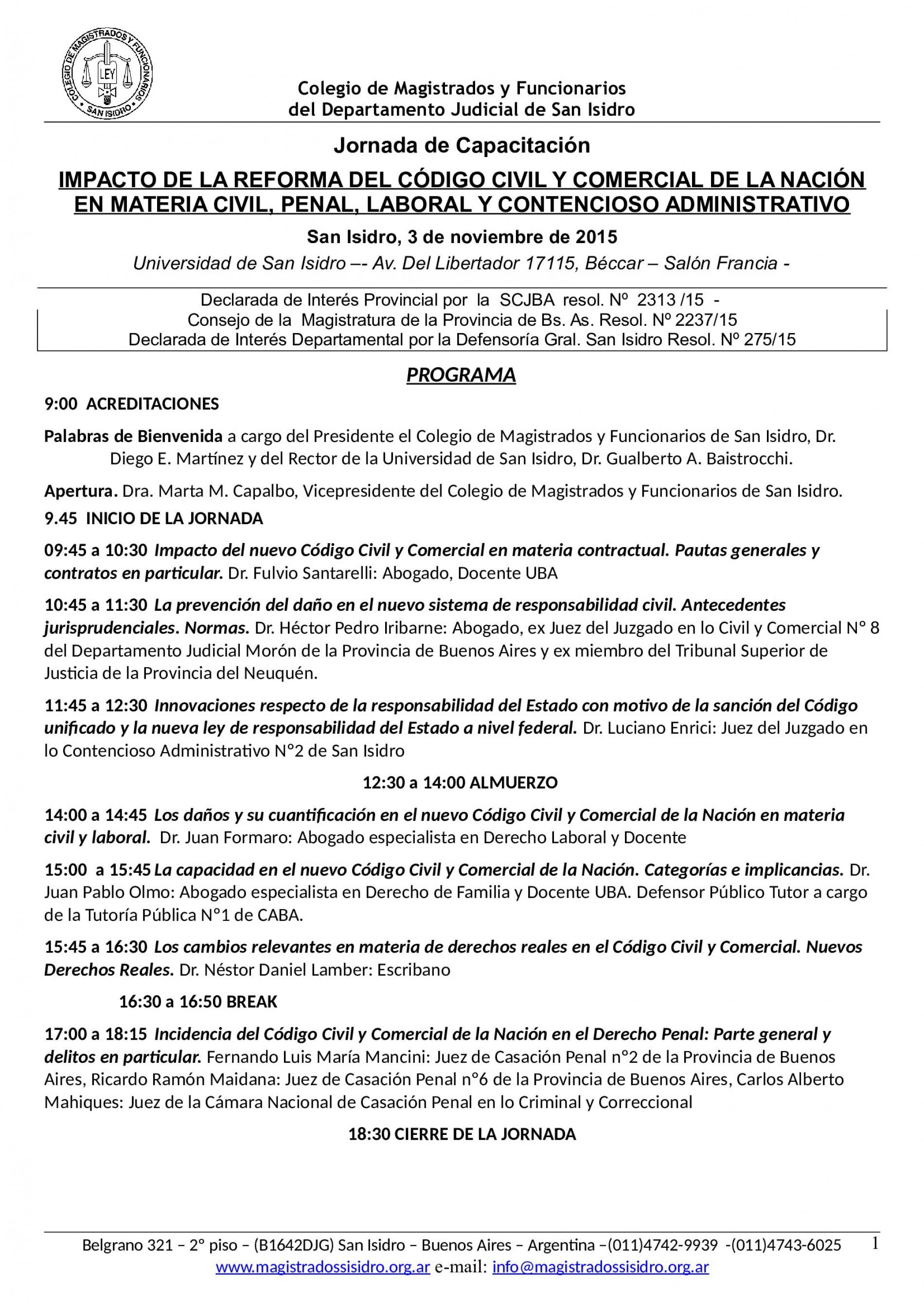 Novedades y programa actualizado C.C.C: 3-11-15 San Isidro «Impacto de la Reforma del Código Civil y Comercial de la Nación en Materia Civil, Penal, Laboral y Contencioso Administrativo»