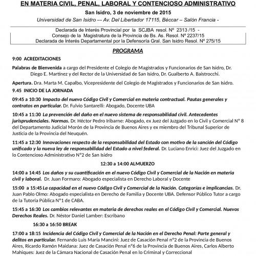"""Novedades y programa actualizado C.C.C: 3-11-15 San Isidro """"Impacto de la Reforma del Código Civil y Comercial de la Nación en Materia Civil, Penal, Laboral y Contencioso Administrativo"""""""