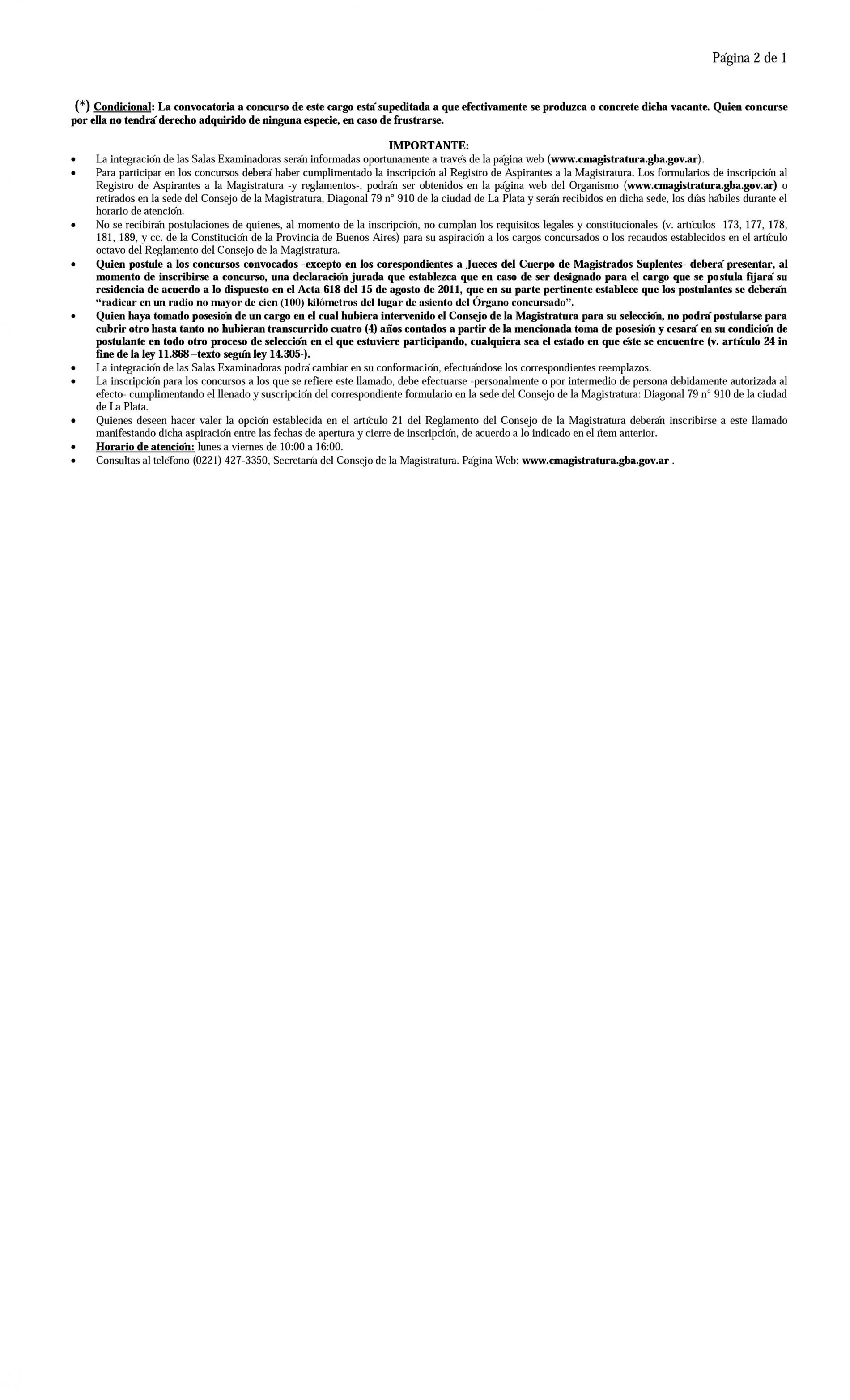 Convocatoria a Concursos: Consejo de la Magistratura Bonaerense