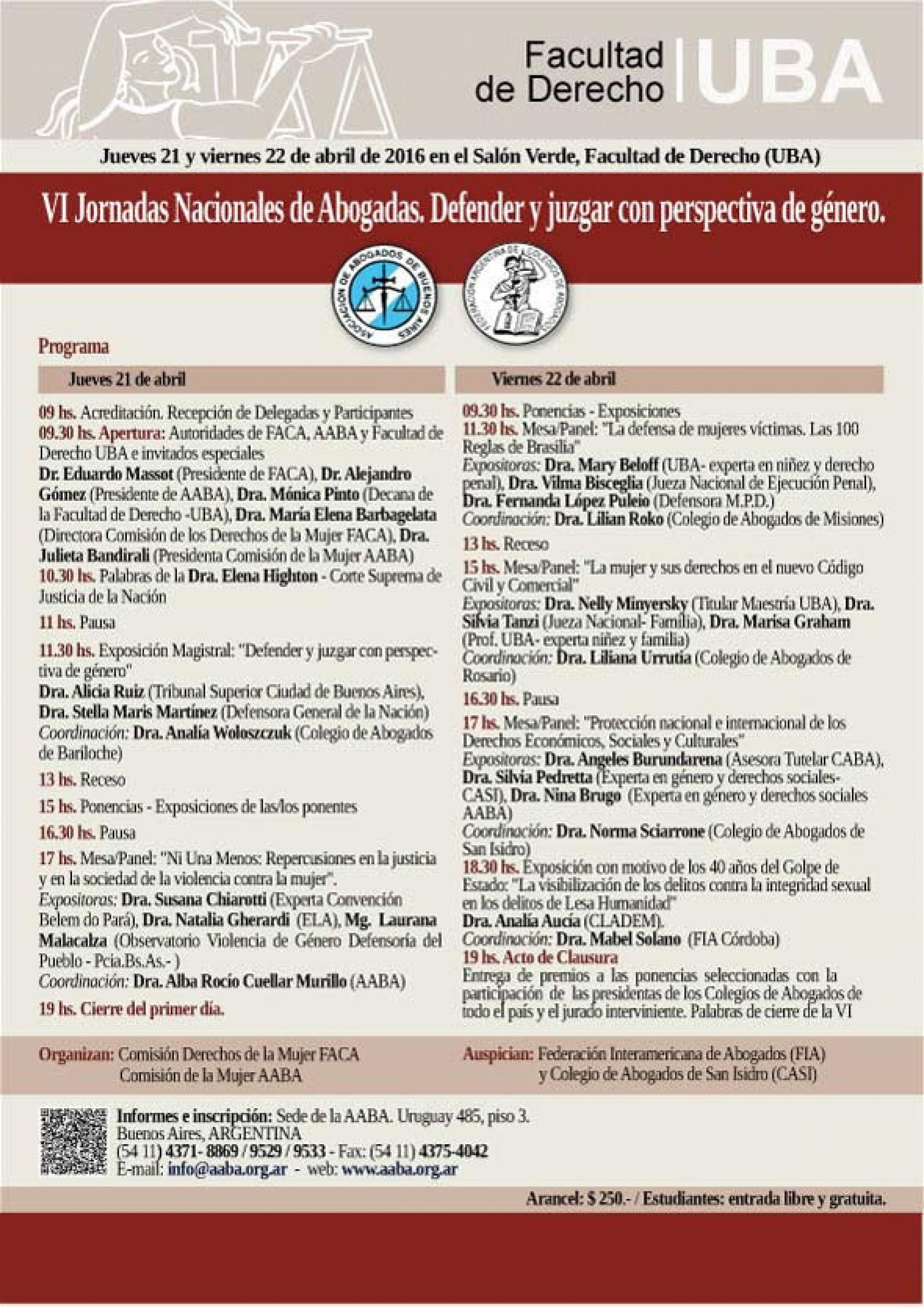 VI Jornadas Nacionales de Abogadas: Defender y juzgar con perspectiva de género