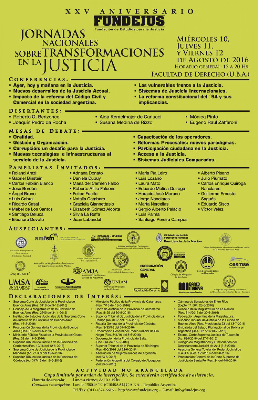 «Jornadas Nacionales sobre transformaciones en la Justicia»