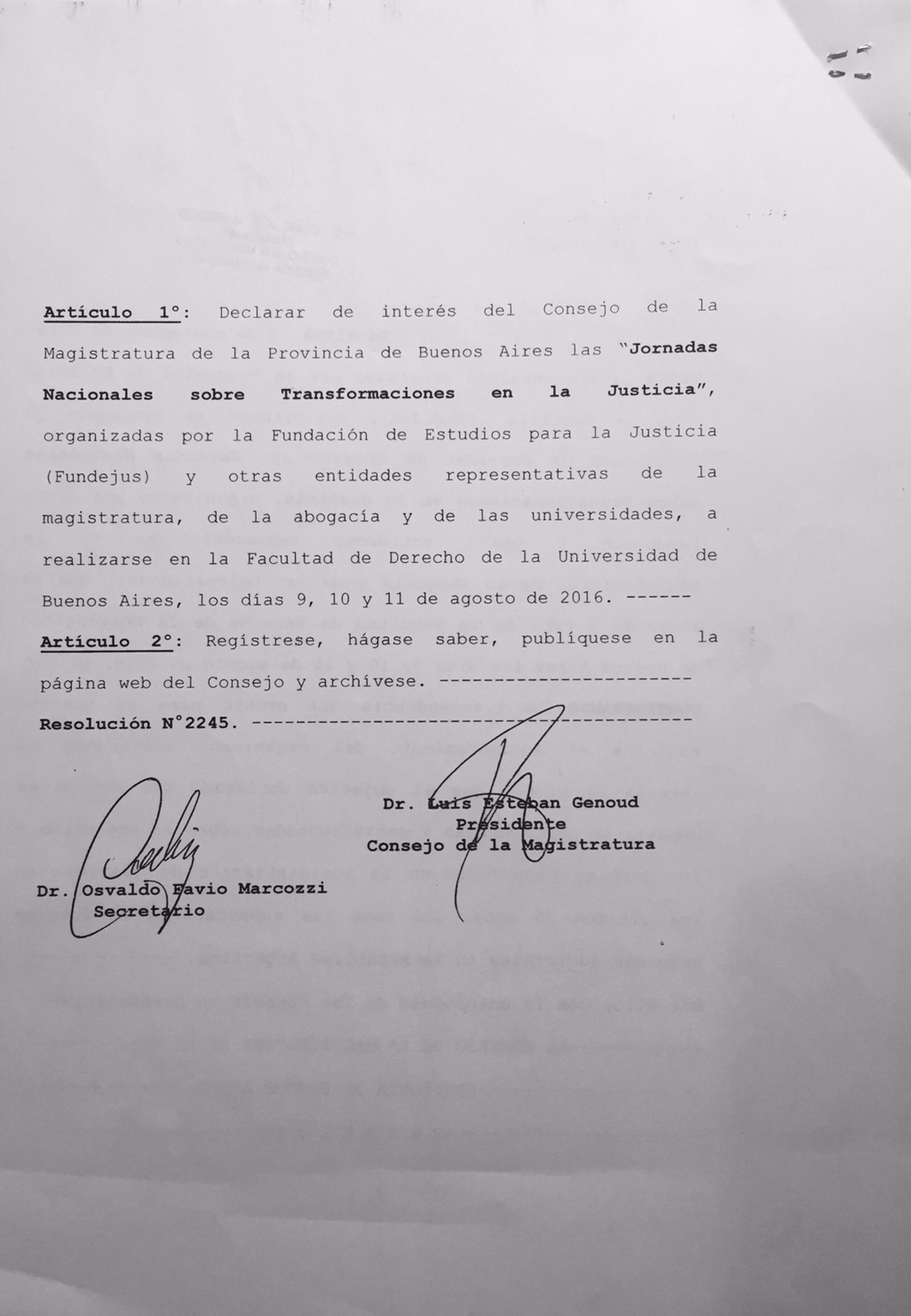 Consejo de la Magistratura – Declara de interés las Jornadas Nacionales sobre Transformaciones en la Justicia