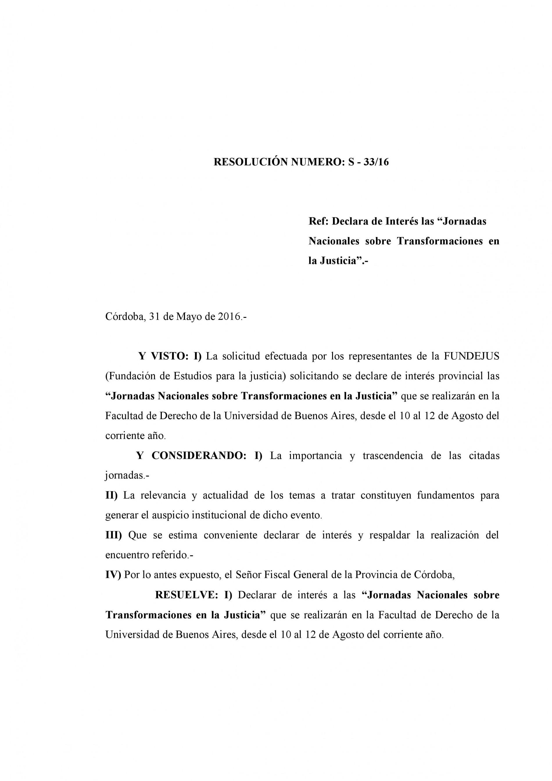 Fiscalia General de la Provincia de Córdoba – Declara de interés las Jornadas Nacionales sobre Transformaciones en la Justicia