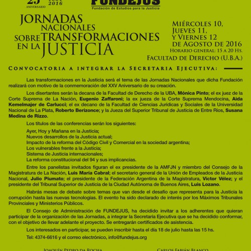 25º aniversario -Convocatoria a integrar la Secretaria Ejecutiva-: Jornadas Nacionales