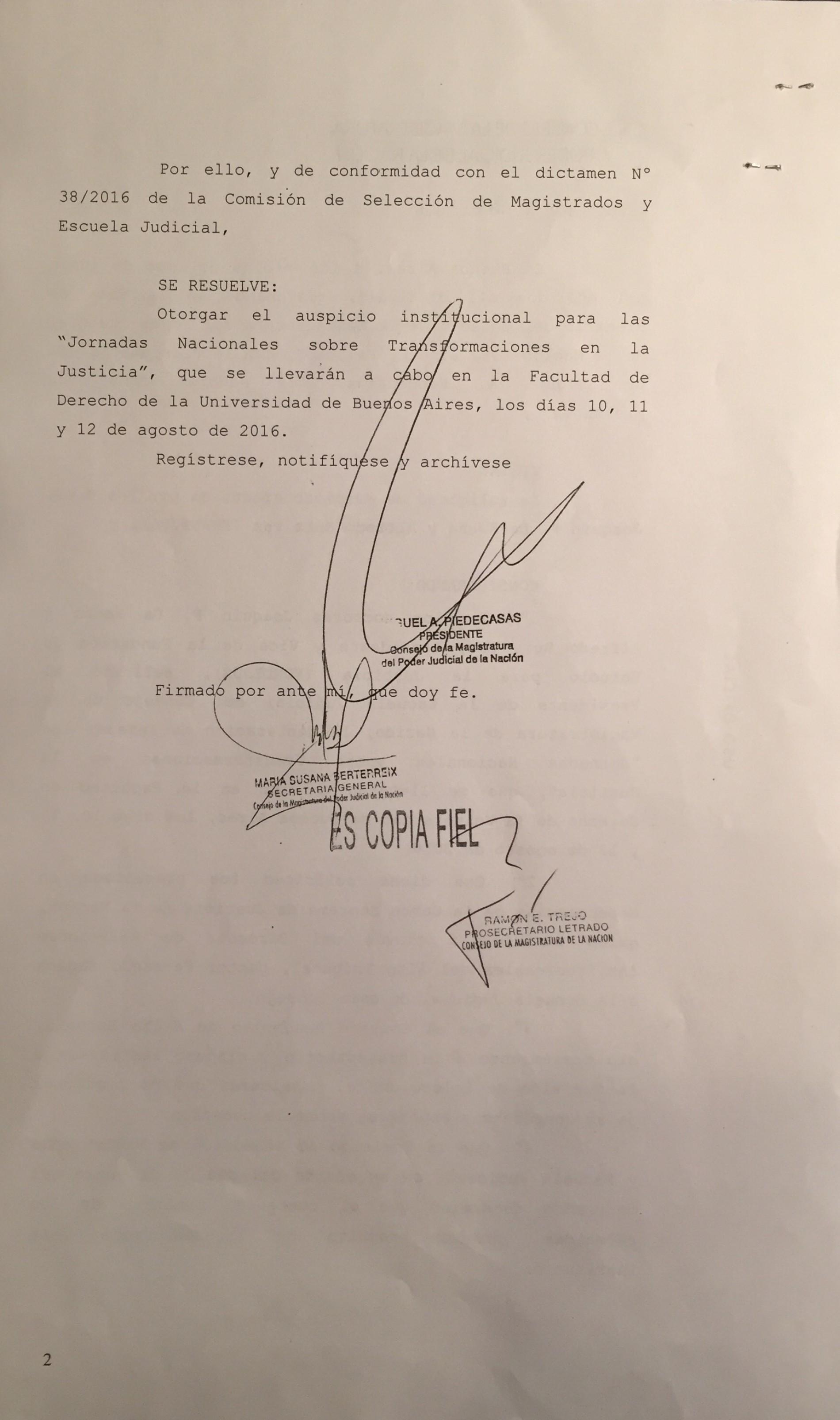 Consejo de la Magistratura de la Nación – Declara de interés las Jornadas Nacionales sobre Transformaciones en la Justicia