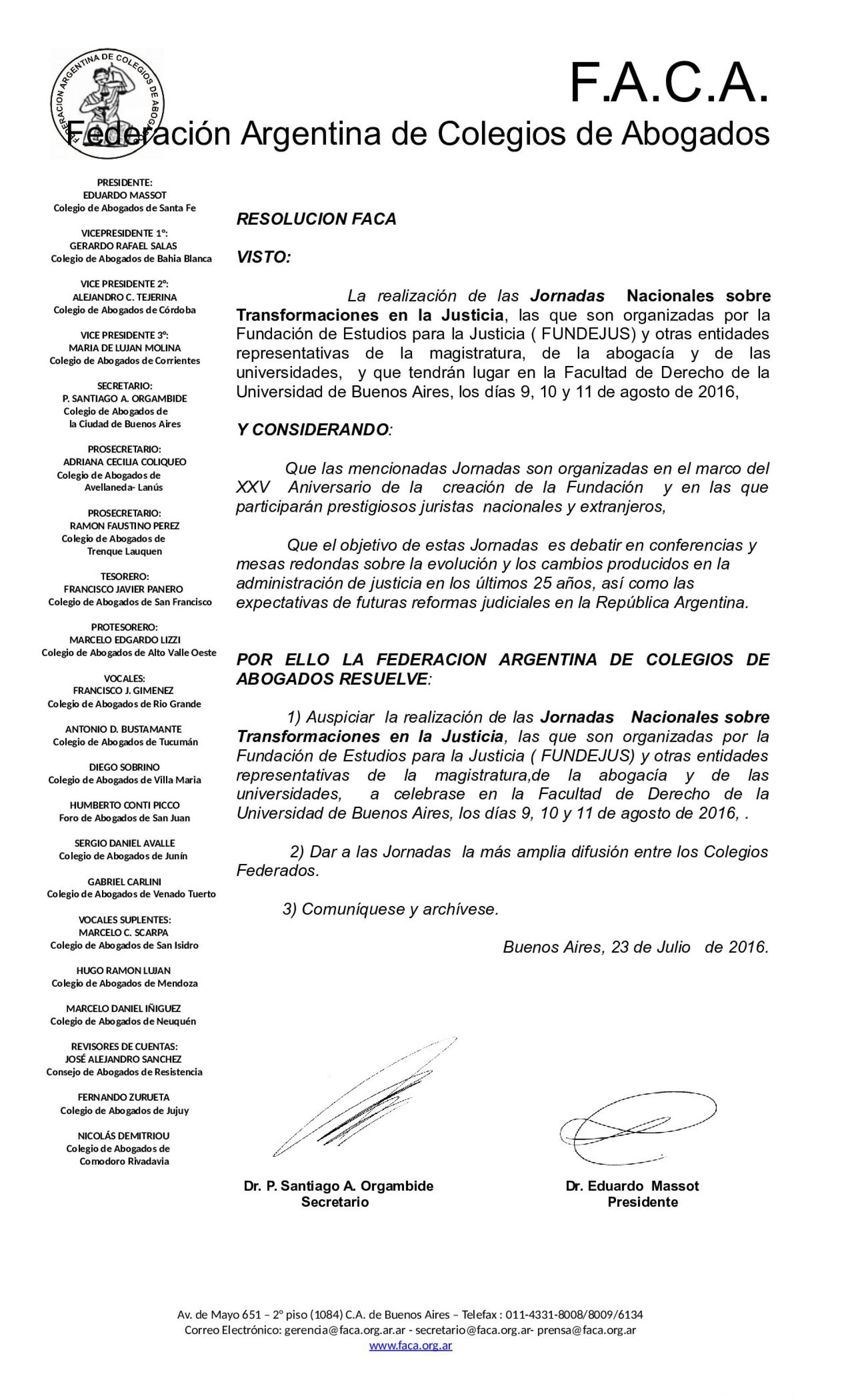 Federación Argentina del Colegio de Abogados – Declara de interés las Jornadas Nacionales sobre Transformaciones en la Justicia