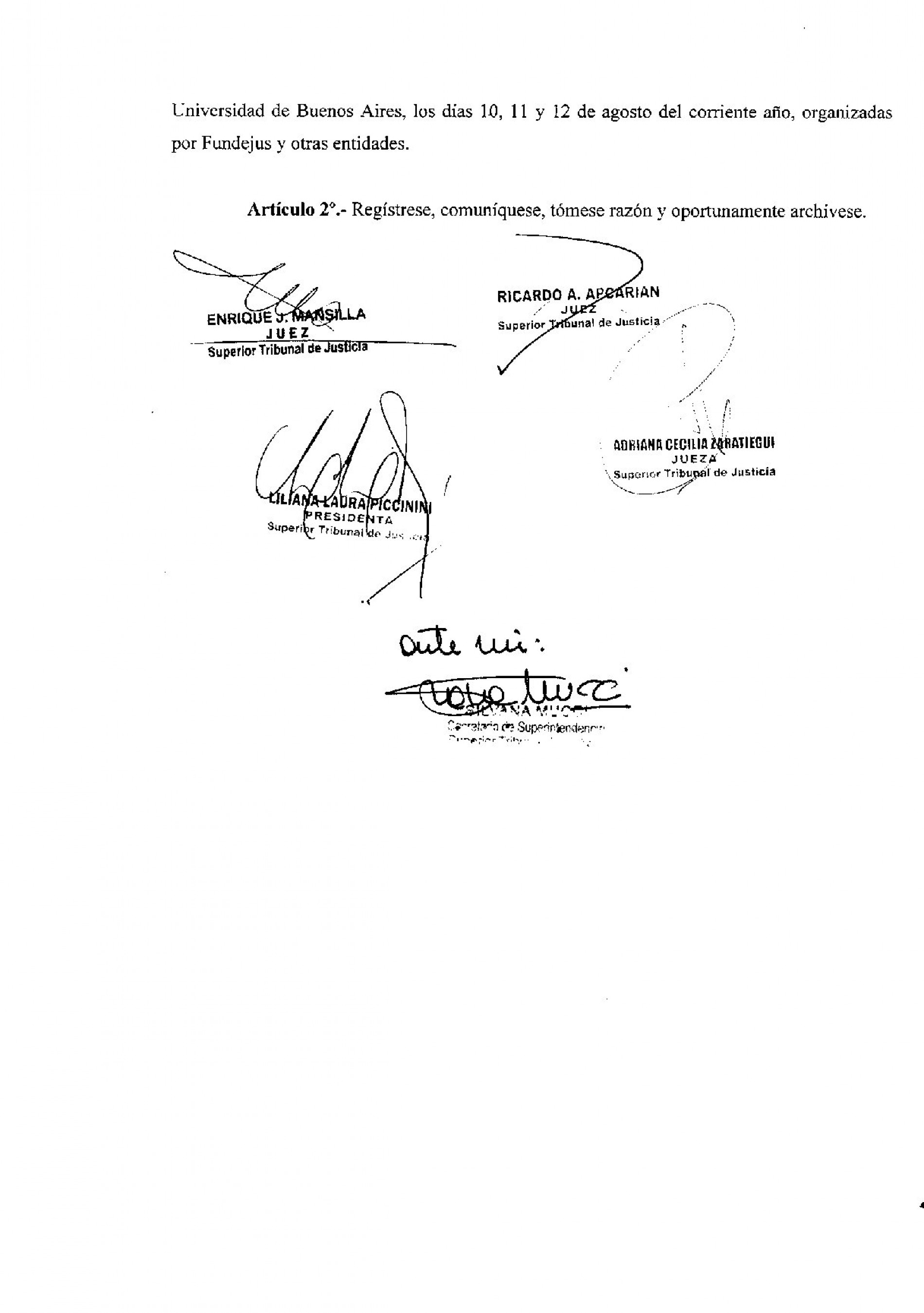 Superior Tribunal de la provincia de Rio Negro – Declara de interés las Jornadas Nacionales sobre Transformaciones en la Justicia