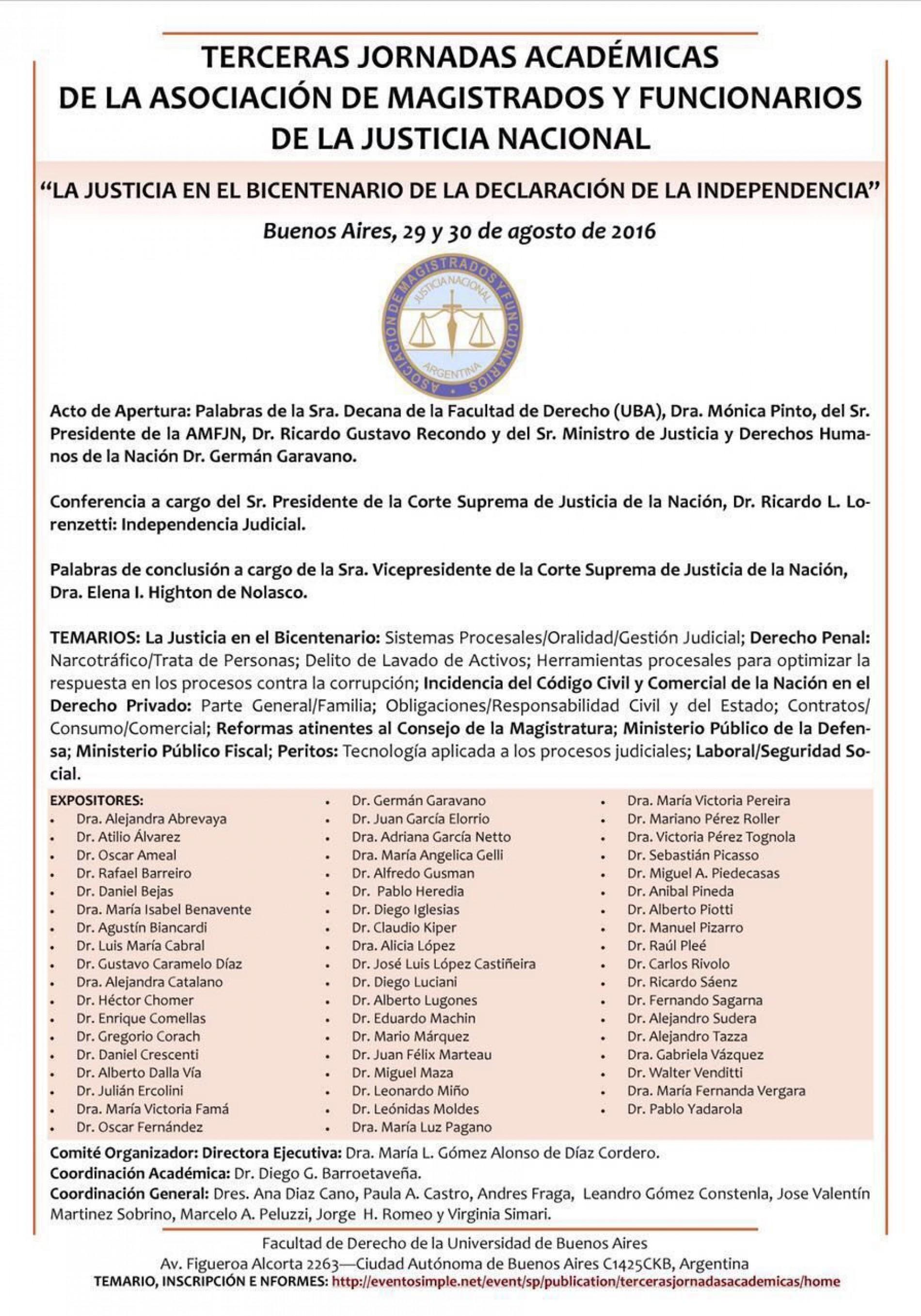 Terceras Jornadas Académicas de la Asociación de Magistrados y Funcionarios de la Justicia Nacional