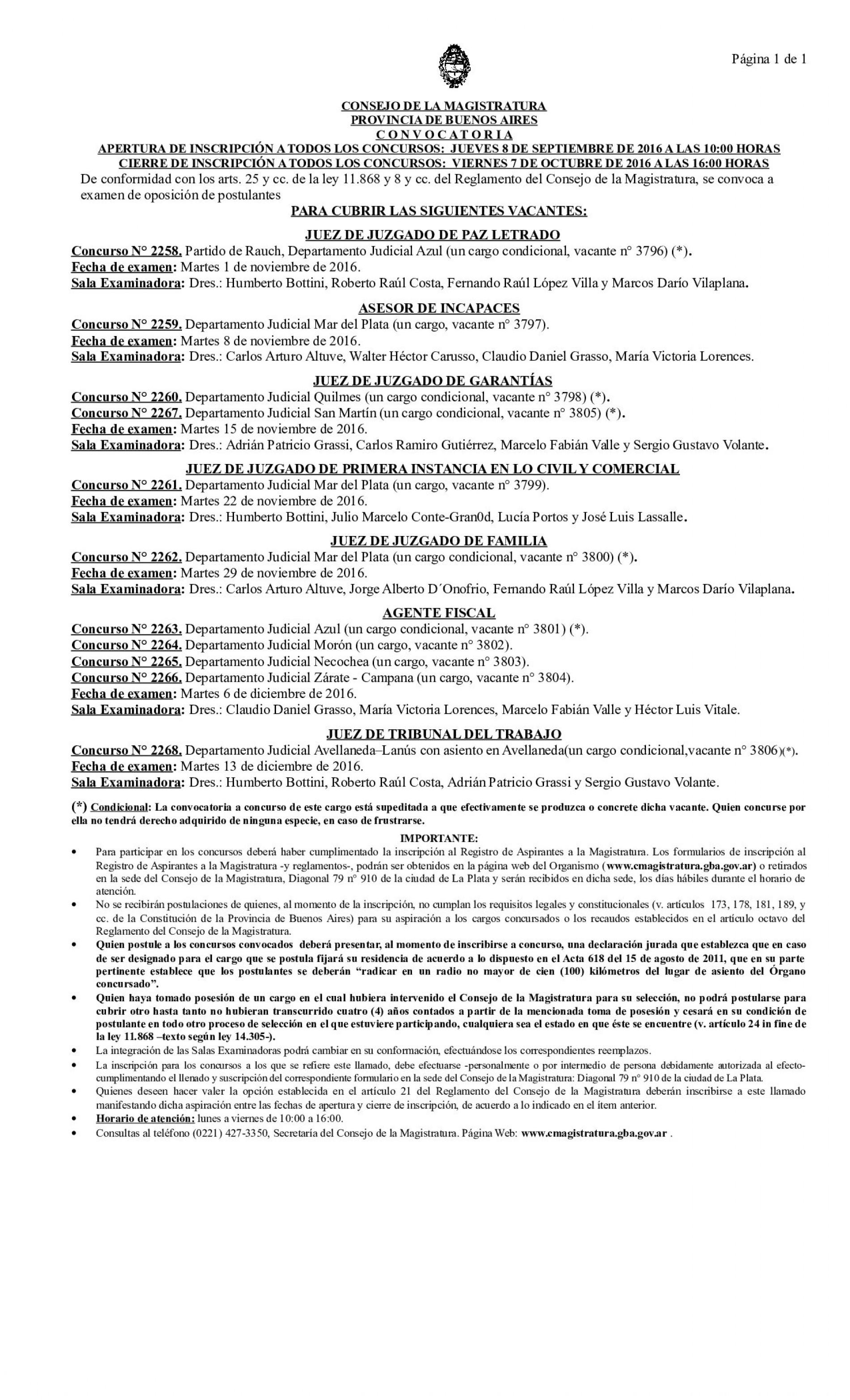 Consejo de la Magistratura de la Pcia.de Bs. As. Convocatoria