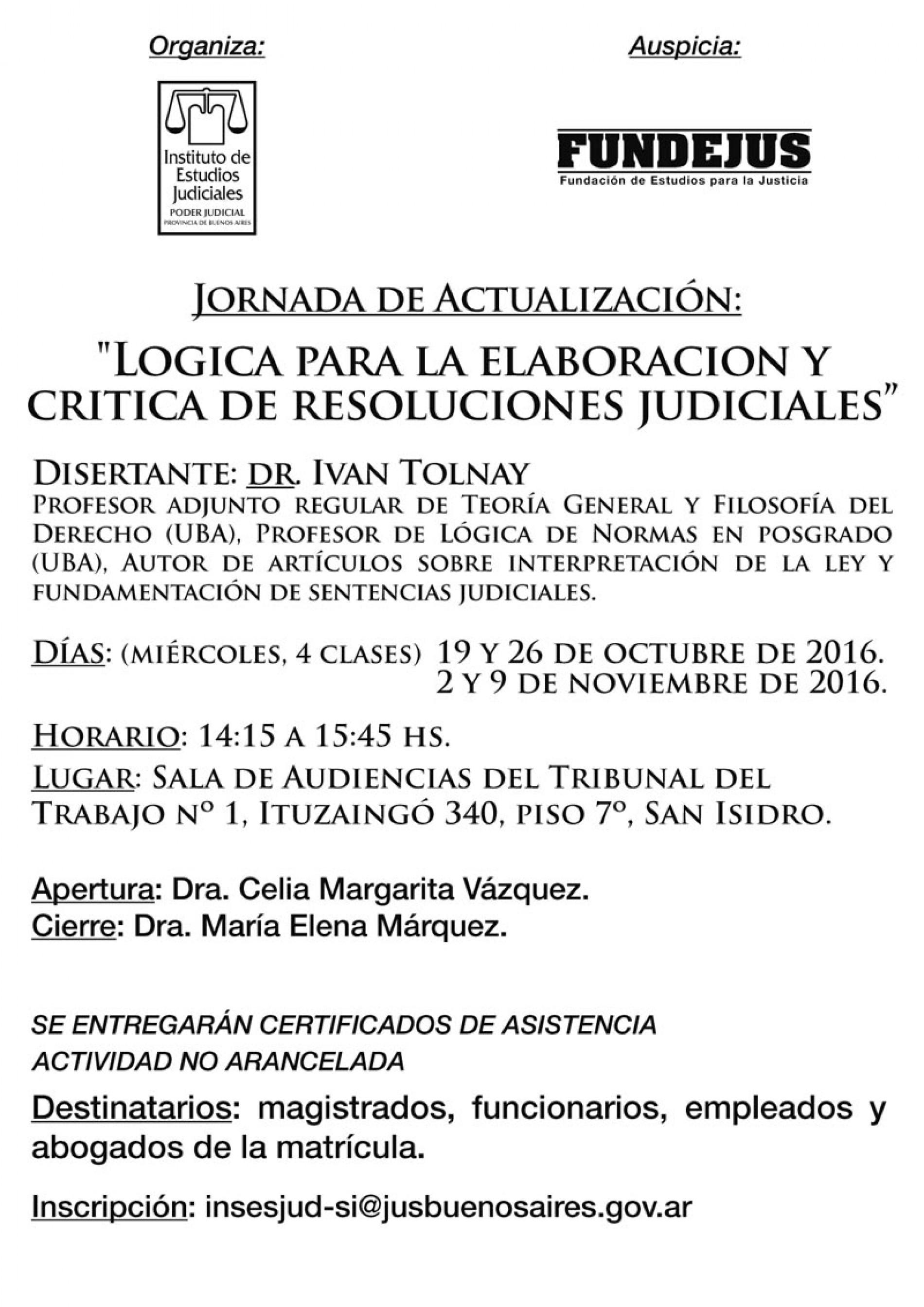 » Lógica para la elaboración y critica de las resoluciones judiciales «