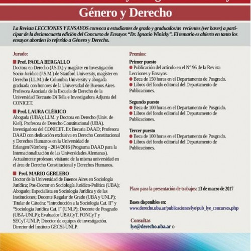 XIV Concurso de Ensayos Ignacio Winizky: Género y Derecho