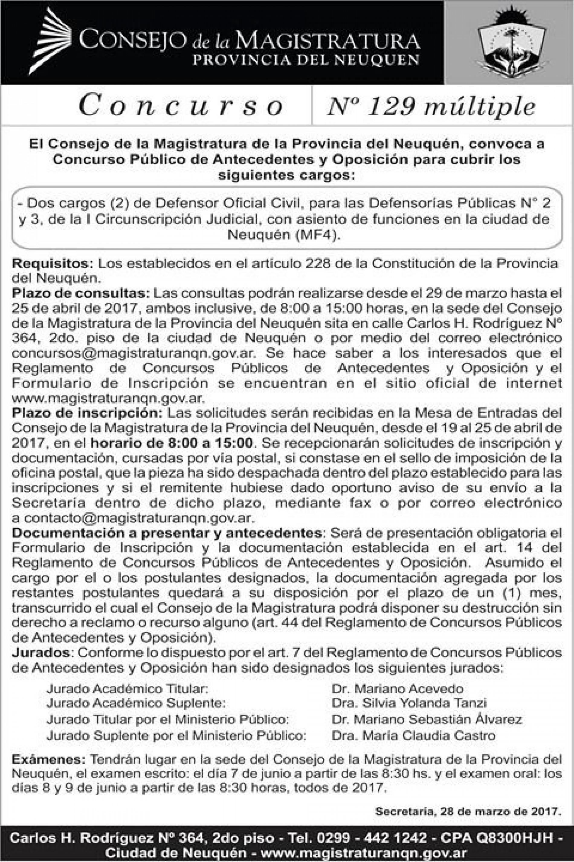 Consejo de la Magistratura de Neuquén- Convocatoria a Concurso Nº 129