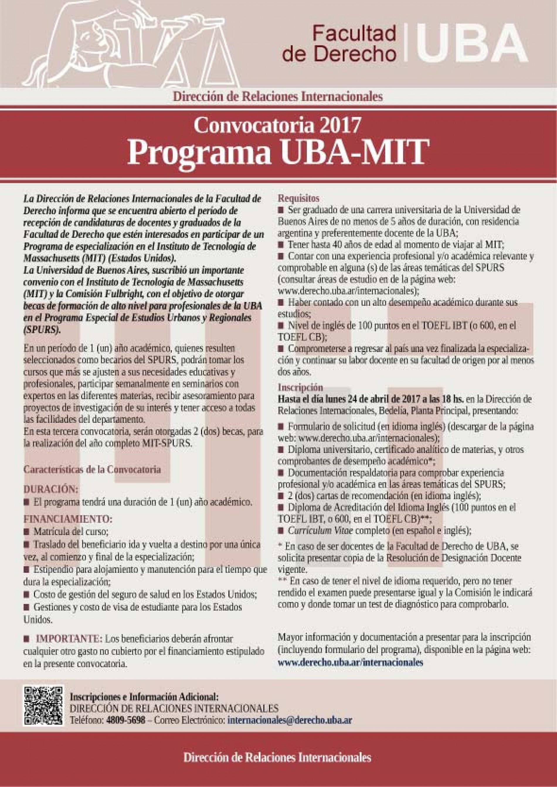 Convocatoria 2017 del Programa UBA-MIT