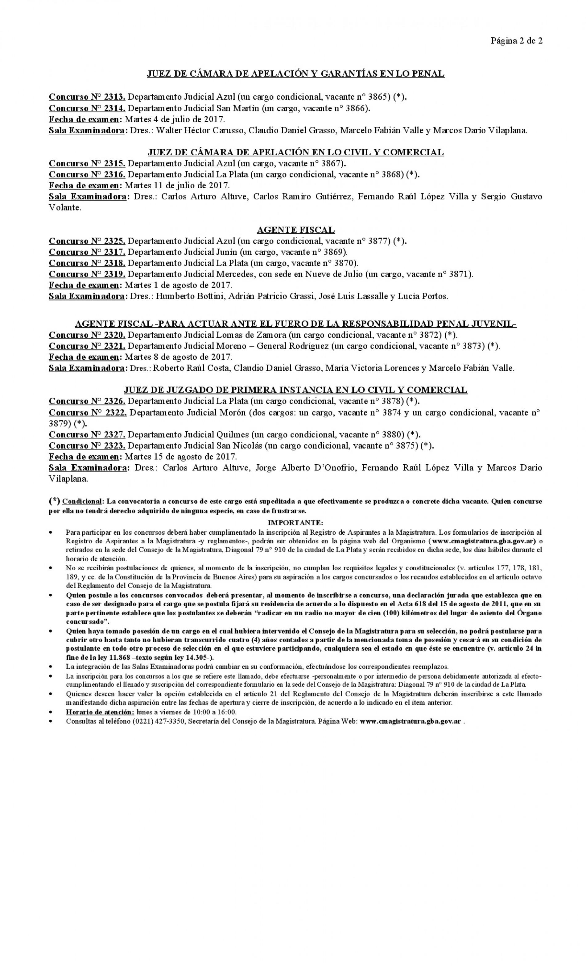 Consejo de la Magistratura Bonaerense: llamado a concurso ( Fe de erratas )