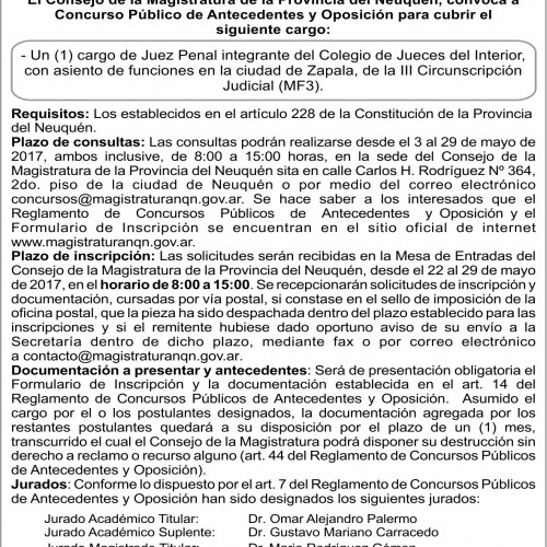 Consejo de la Magistratura de Neuquén-Convocatoria Concurso Nº 130