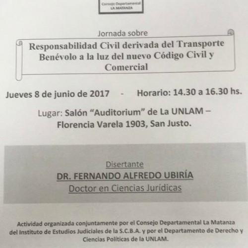 """""""Responsabilidad Civil derivada del Transporte Benévolo a la luz del nuevo Código Civil y Comercial"""""""