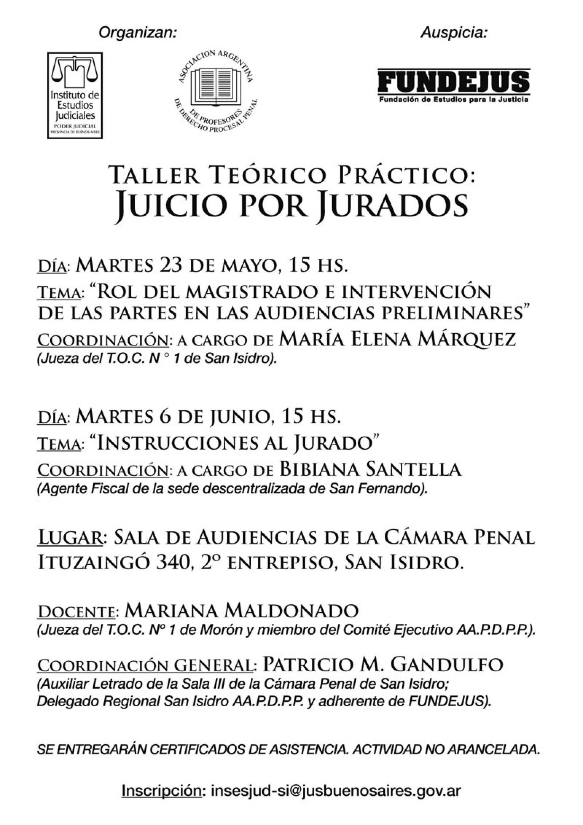 » Taller Teórico Práctico: Juicio por Jurados «