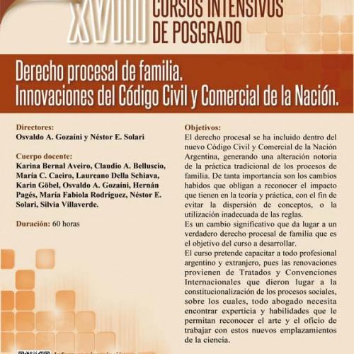 """XVIII Cursos Intensivos de Posgrado: """"Derecho Procesal de Familia. Innovaciones del Código Civil y Comercial de la Nación"""""""