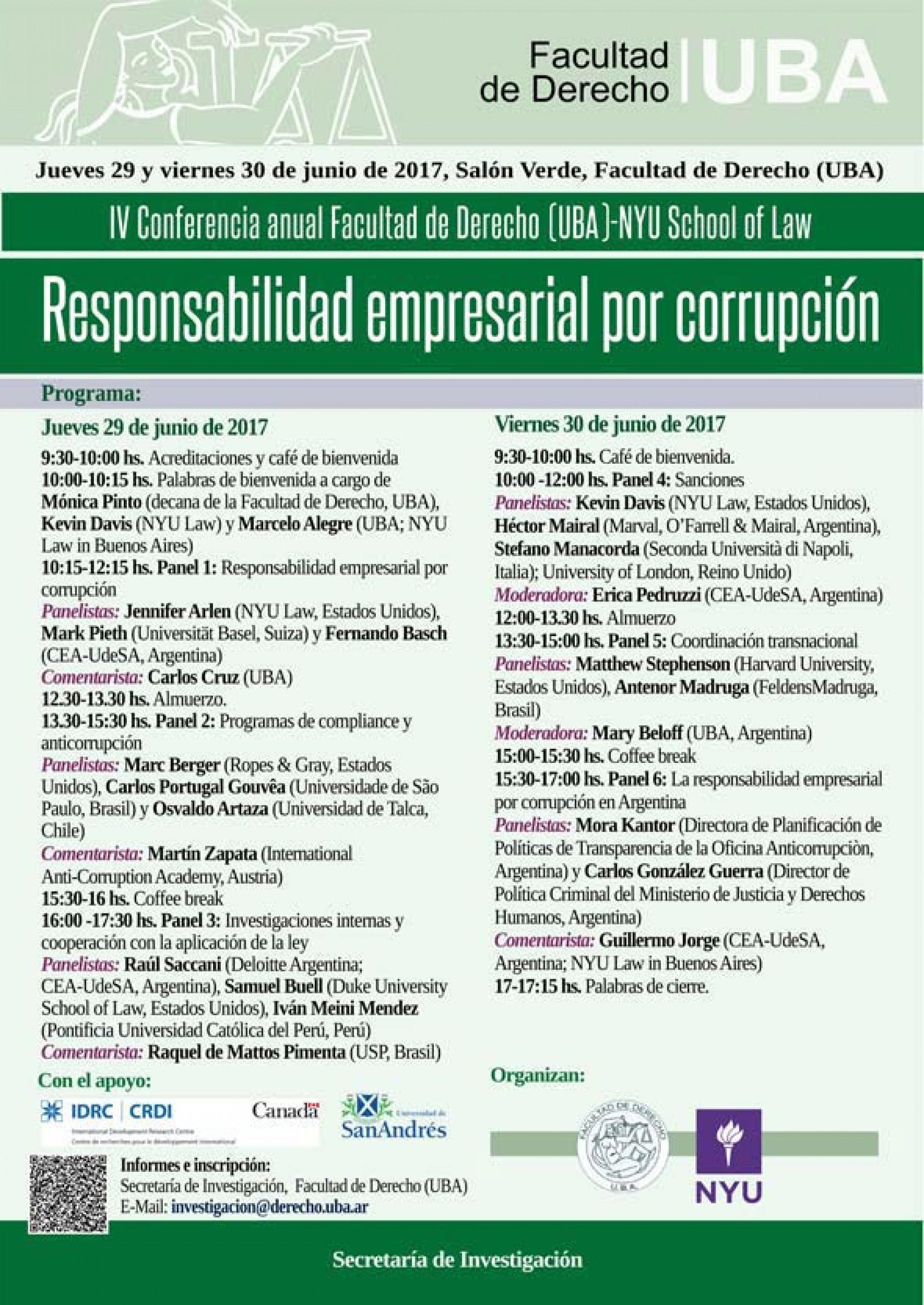 «IV Conferencia anual Facultad de Derecho (UBA)-NYU School of Law: Responsabilidad empresarial por corrupción