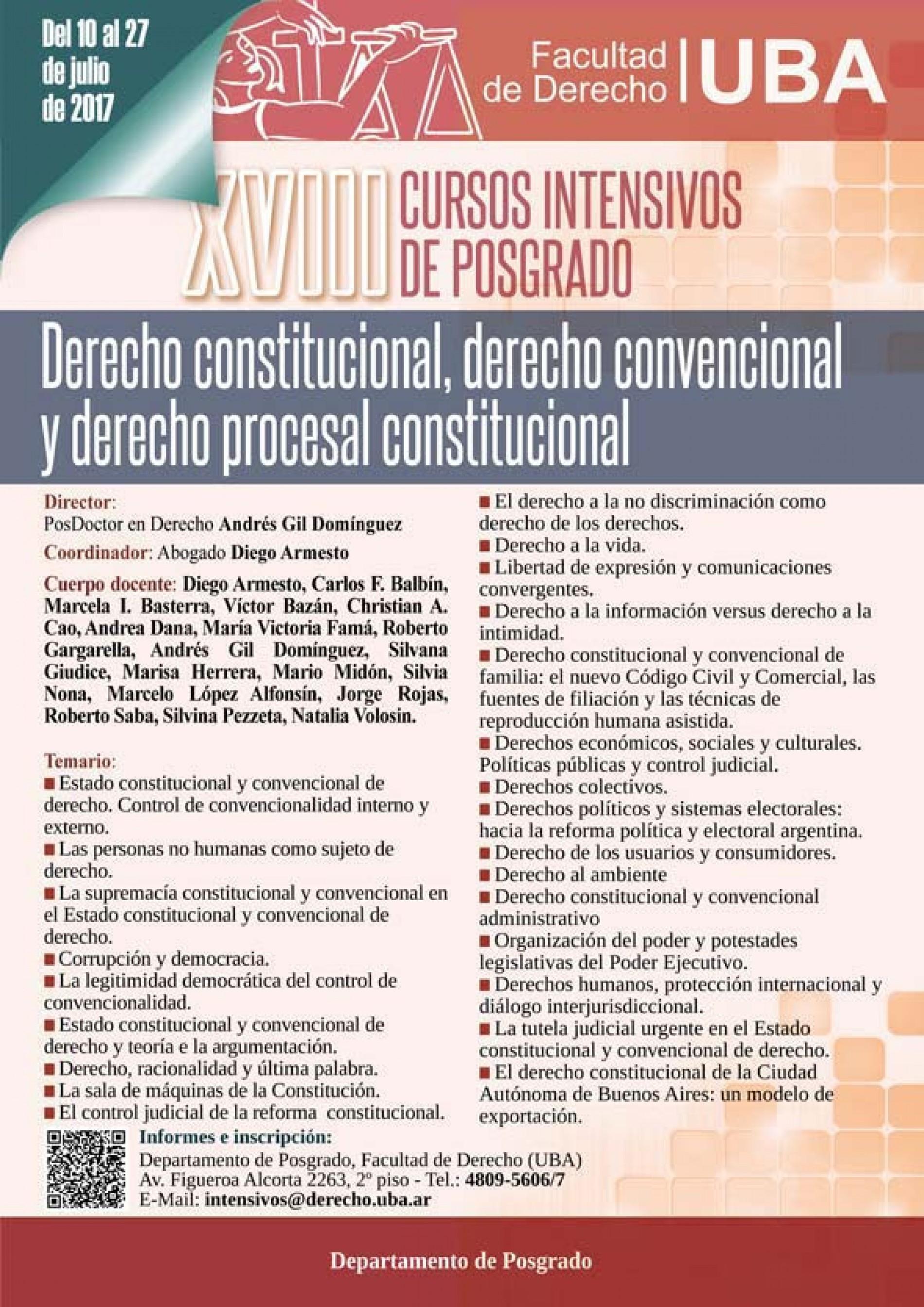 XVIII Cursos Intensivos de Posgrado: Derecho Constitucional, Derecho Convencional y Derecho Procesal Constitucional