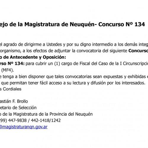 Consejo de la Magistratura de Neuquén- Concurso Nº 134