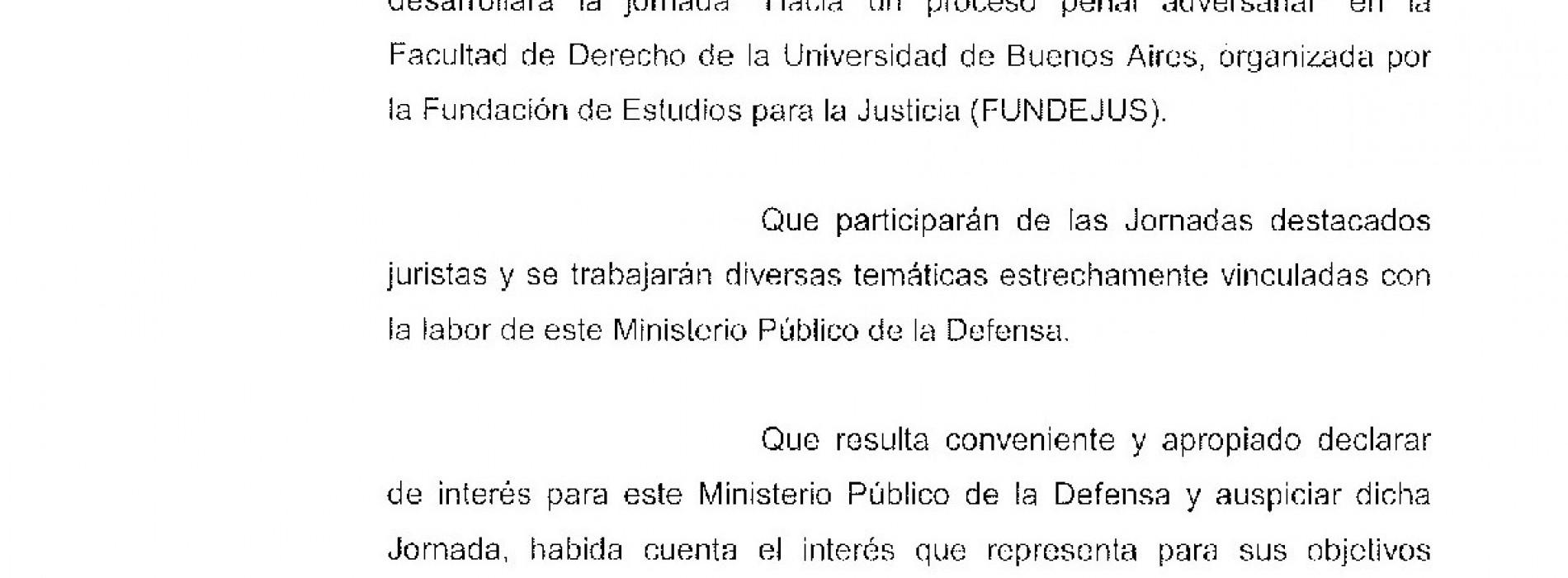 """Jornada """" Hacia un proceso penal adversarial """": Declaración de interés del Ministerio Público de la Defensa C.A.B.A."""