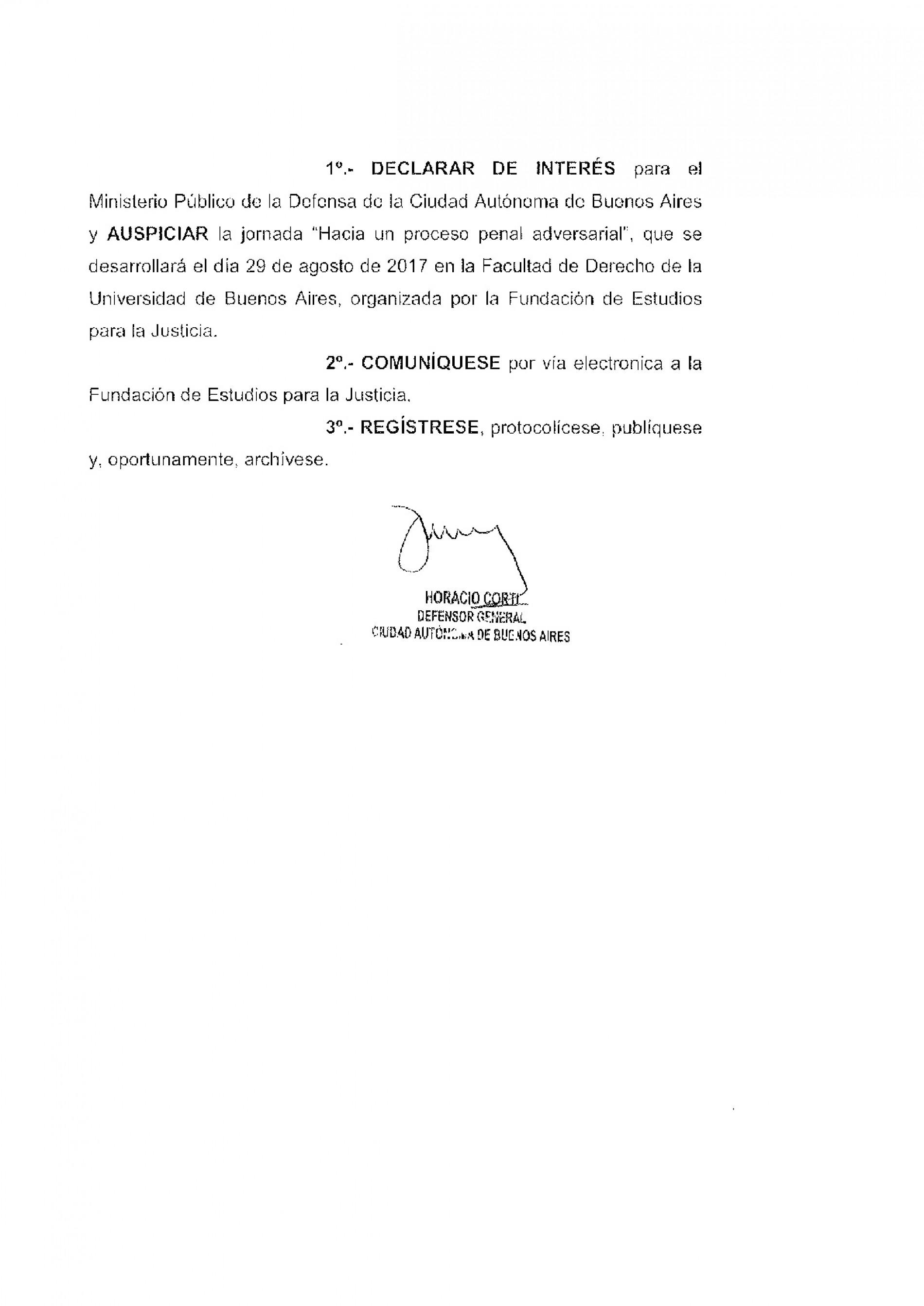 Jornada » Hacia un proceso penal adversarial «: Declaración de interés del Ministerio Público de la Defensa C.A.B.A.