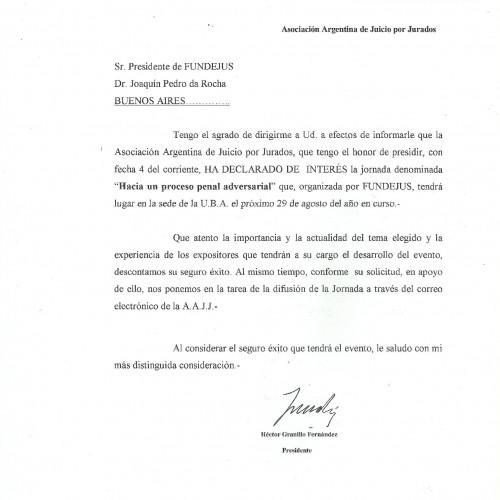 """"""" Hacia un proceso penal adversarial """": Declaración de interés de la Asociación Argentina de Juicio por Jurados"""