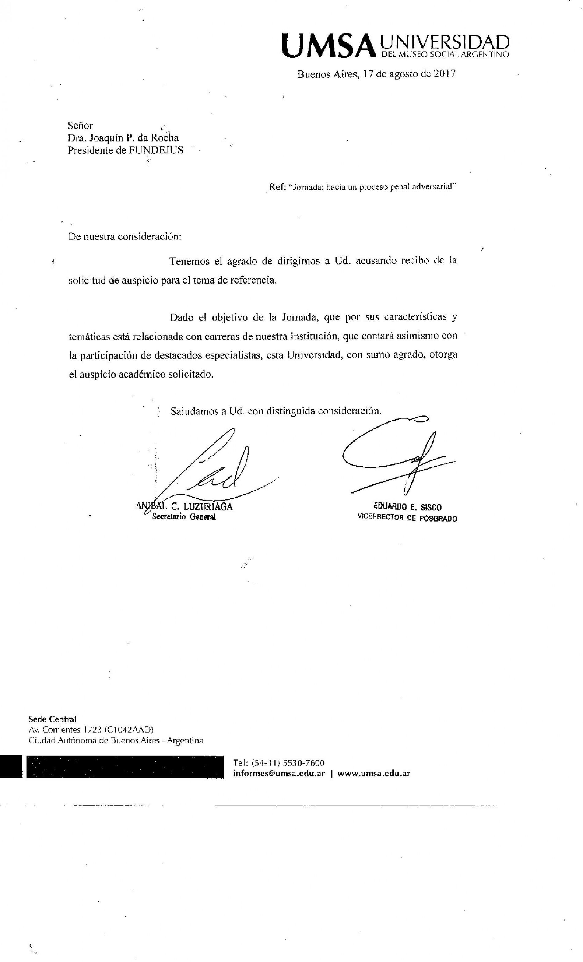 » Hacia un proceso penal adversarial «: Declaración de interés de UMSA