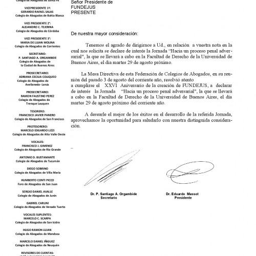 """Jornada """"Hacia un proceso penal adversarial"""": Declaración de interés de la Federación Argentina de Colegio de Abogados"""