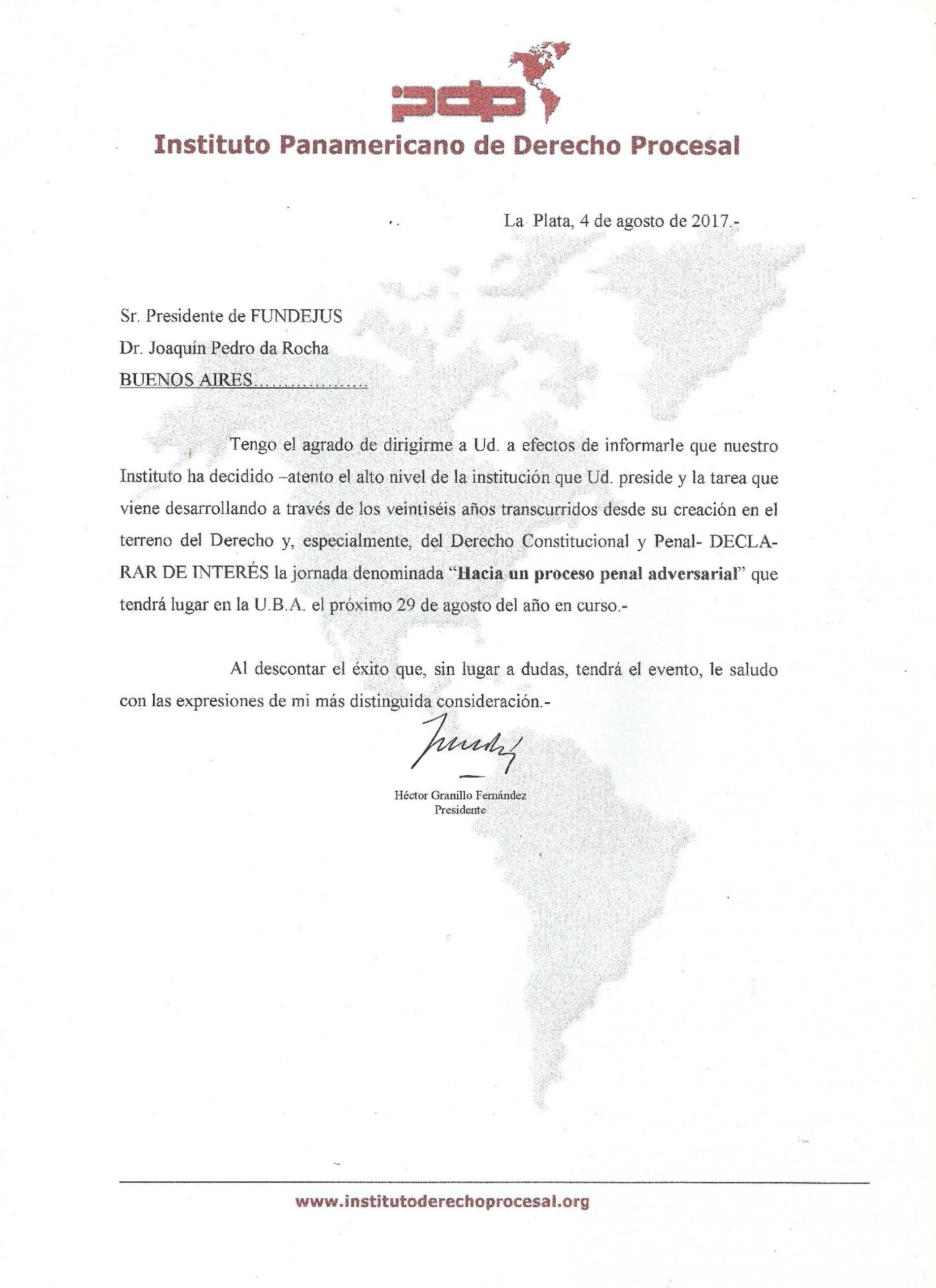 » Hacia un proceso penal adversarial «: Declaración de interés del Instituto Panamericano de Derecho Procesal