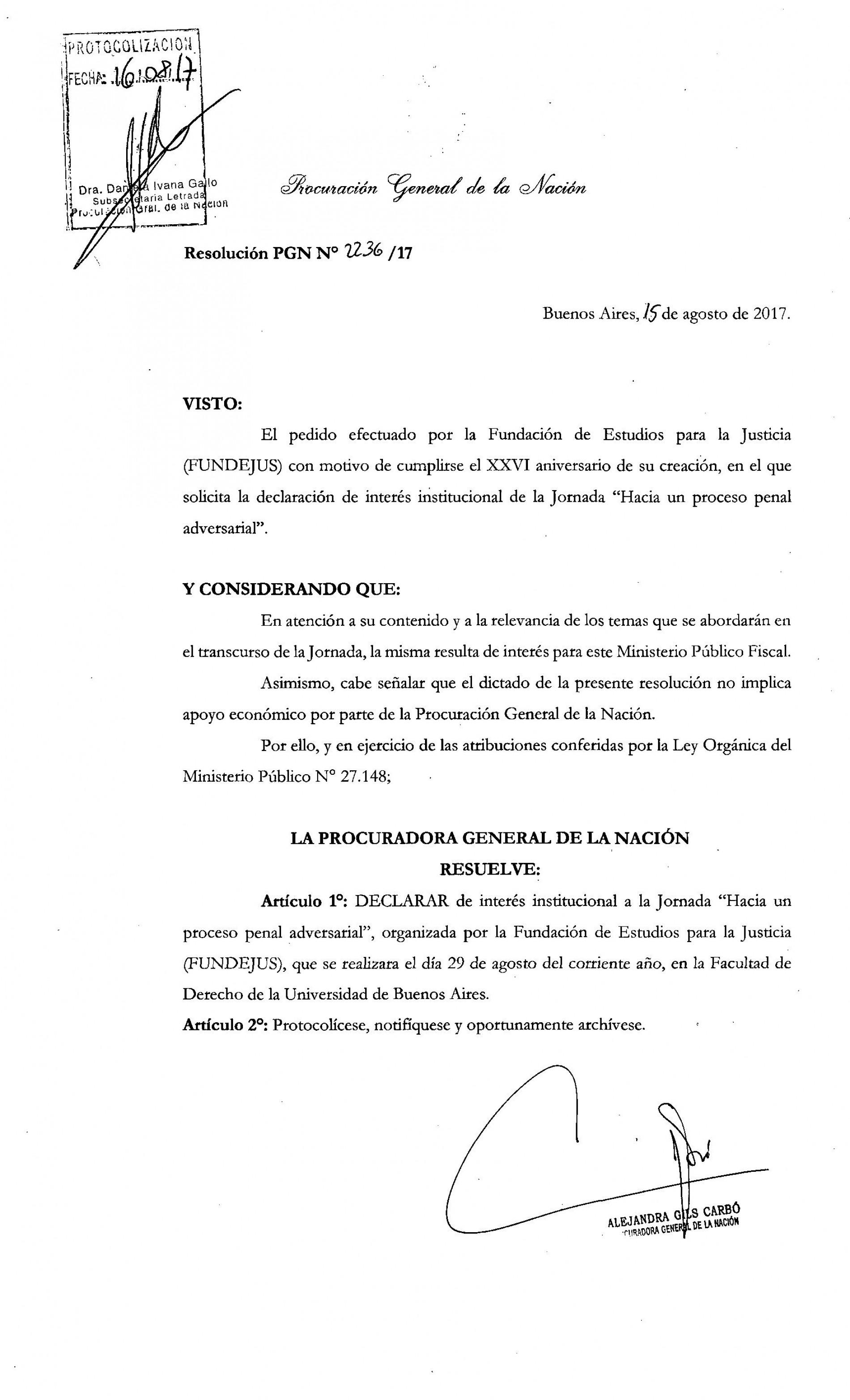 » Hacia un proceso penal adversarial «: Declaración de interés de la Procuración General  de la Nación