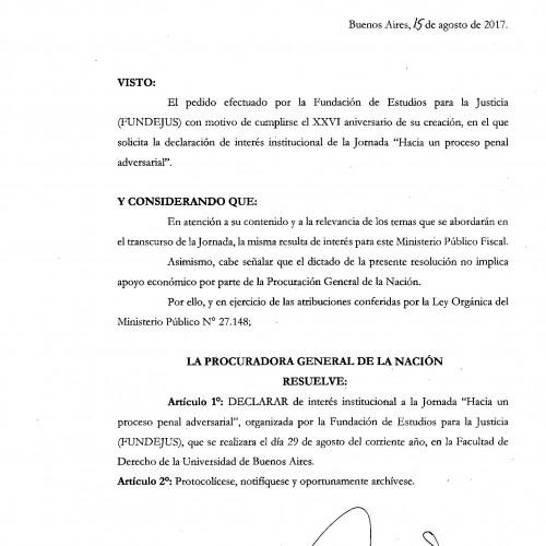 """"""" Hacia un proceso penal adversarial """": Declaración de interés de la Procuración General  de la Nación"""