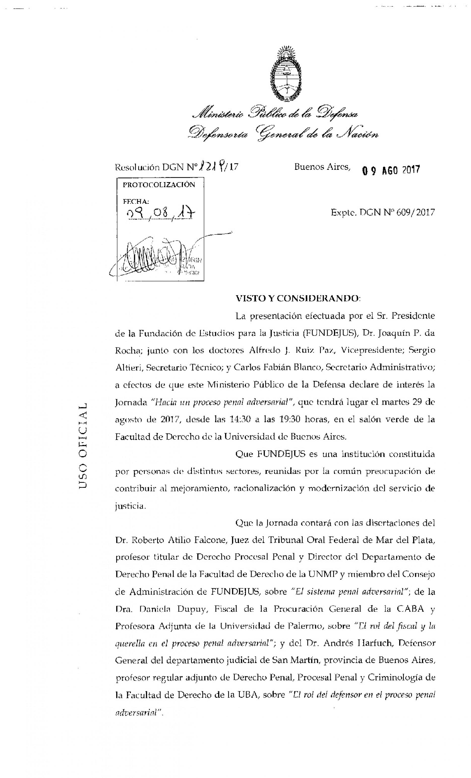 » Hacia un proceso penal adversarial «: Declaración de interés de la Defensoría General de la Nación