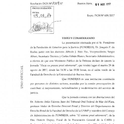 """"""" Hacia un proceso penal adversarial """": Declaración de interés de la Defensoría General de la Nación"""