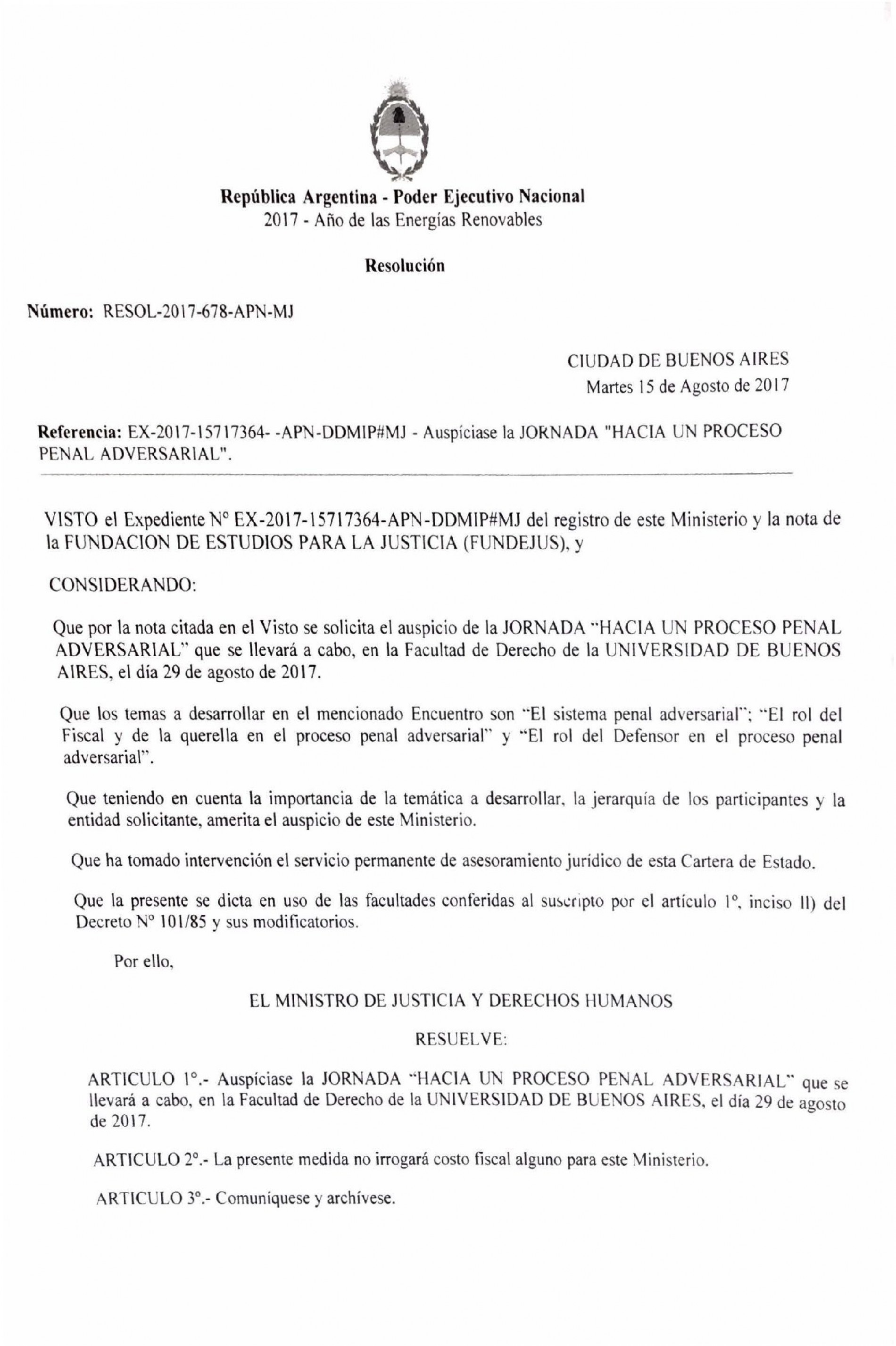 » Hacia un proceso penal adversarial «: Declaración de interés del Ministerio de Justicia y Derechos Humanos de la Nación