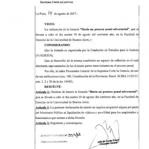 """"""" Hacia un proceso penal adversarial """": Declaración de interés del Ministerio Público de la Provincia de Buenos Aires"""