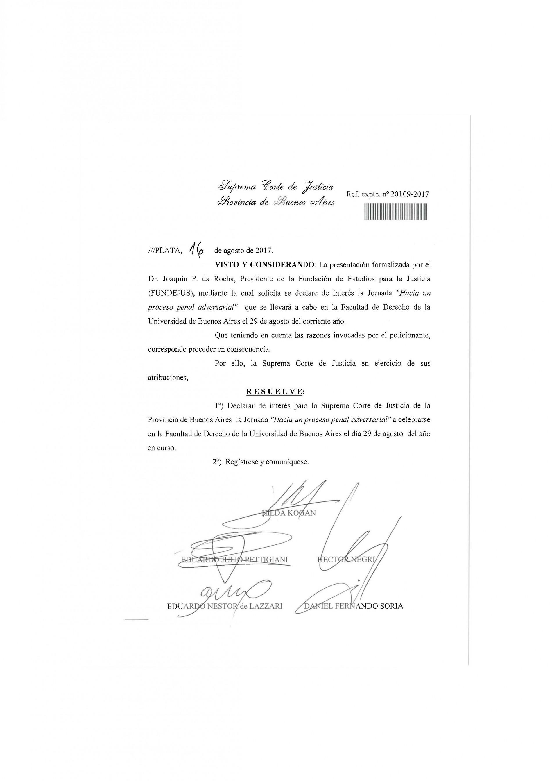 » Hacia un proceso penal adversarial «: Declaración de interés de la Suprema Corte de Justicia de la provincia de Bs.As