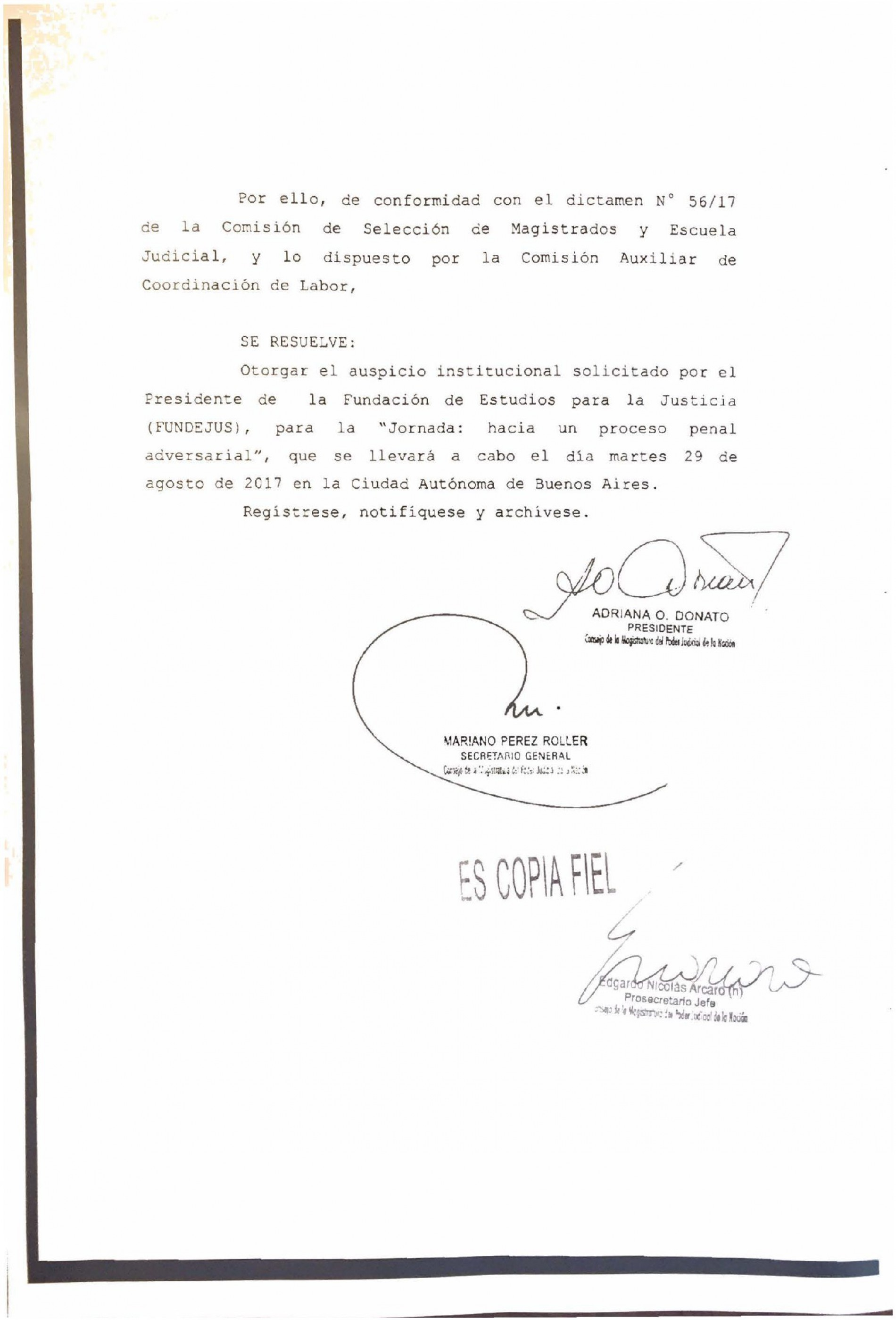 » Hacia un proceso penal adversarial «: Declaración de interés del Consejo de Magistratura de la Nación