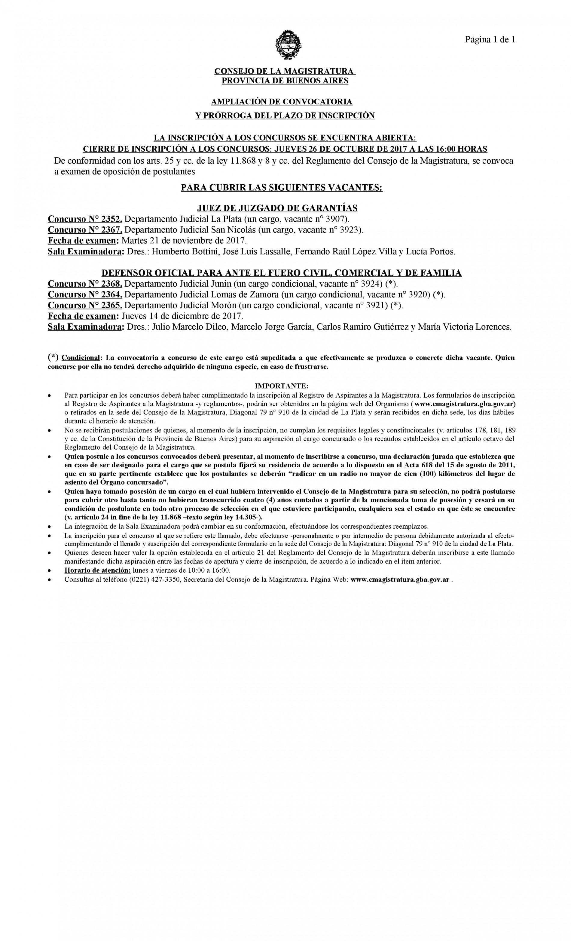 Ampliación de Convocatoria Consejo de la Magistratura Bonaerense