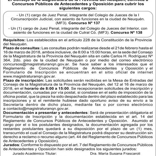 Consejo de la Magistratura de Neuquén – Convocatoria Concurso N° 137 y N° 138