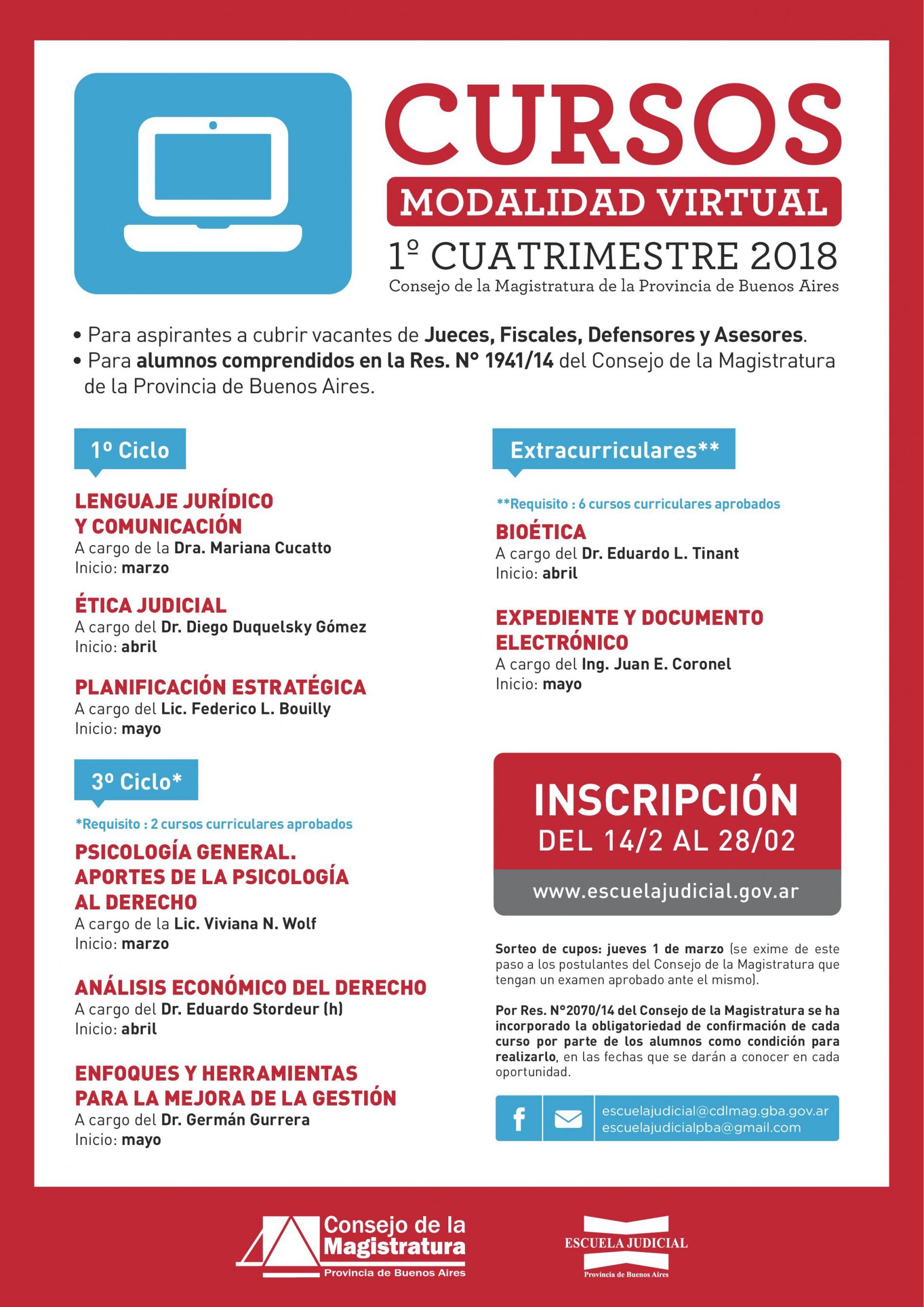 Escuela Judicial del C.Magistratura Bonaerense: cursos del 1º cuatrimestre