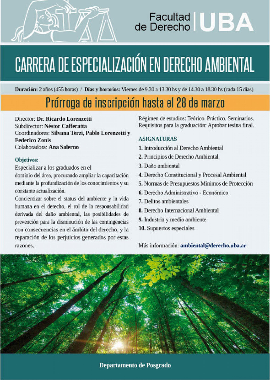 Carrera de especialización en Derecho Ambiental – Fecha de inscripción prorrogada hasta el 28 de marzo