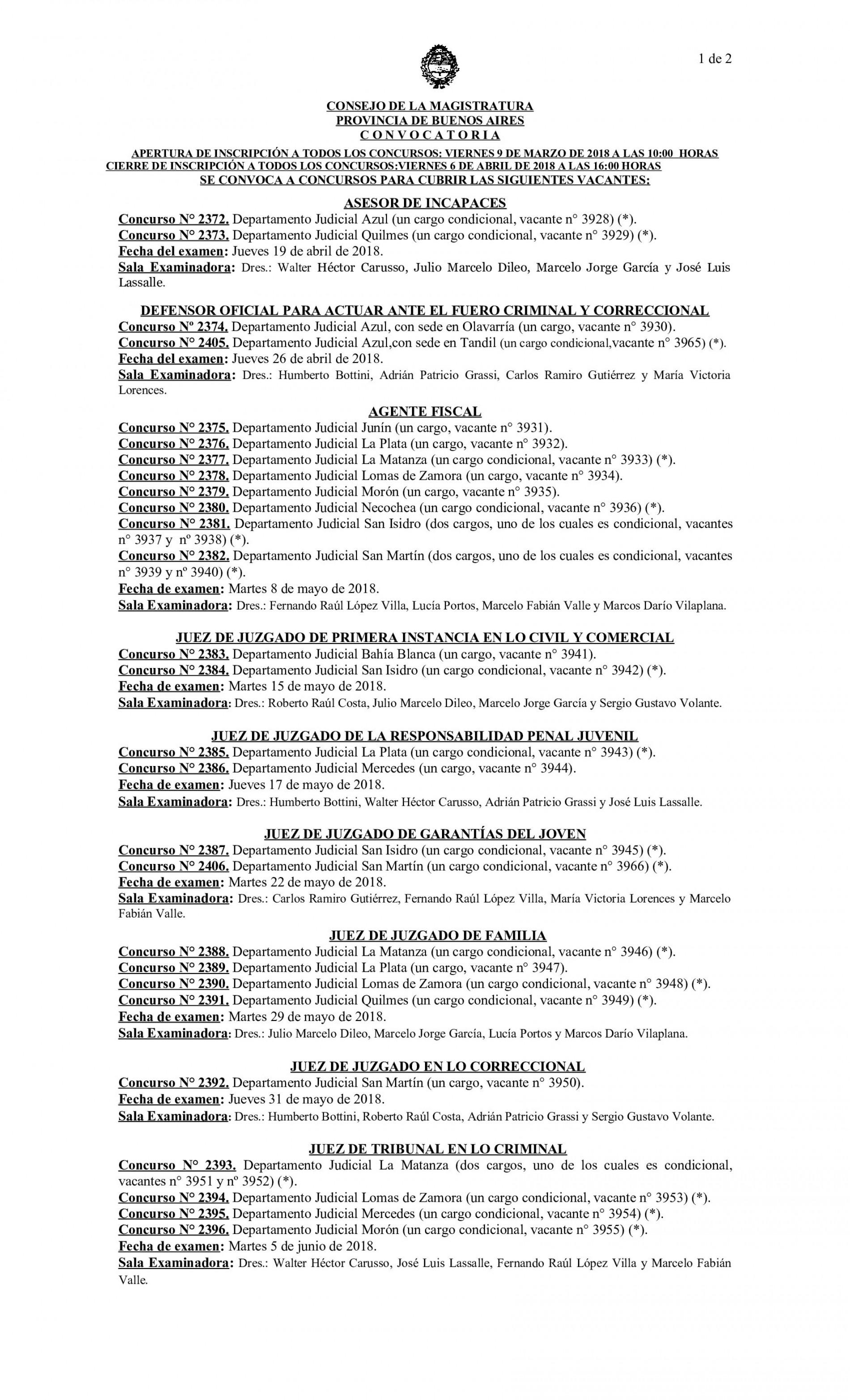 Consejo de la Magistratura de la Provincia de Buenos Aires-Convocatoria Nro. 2