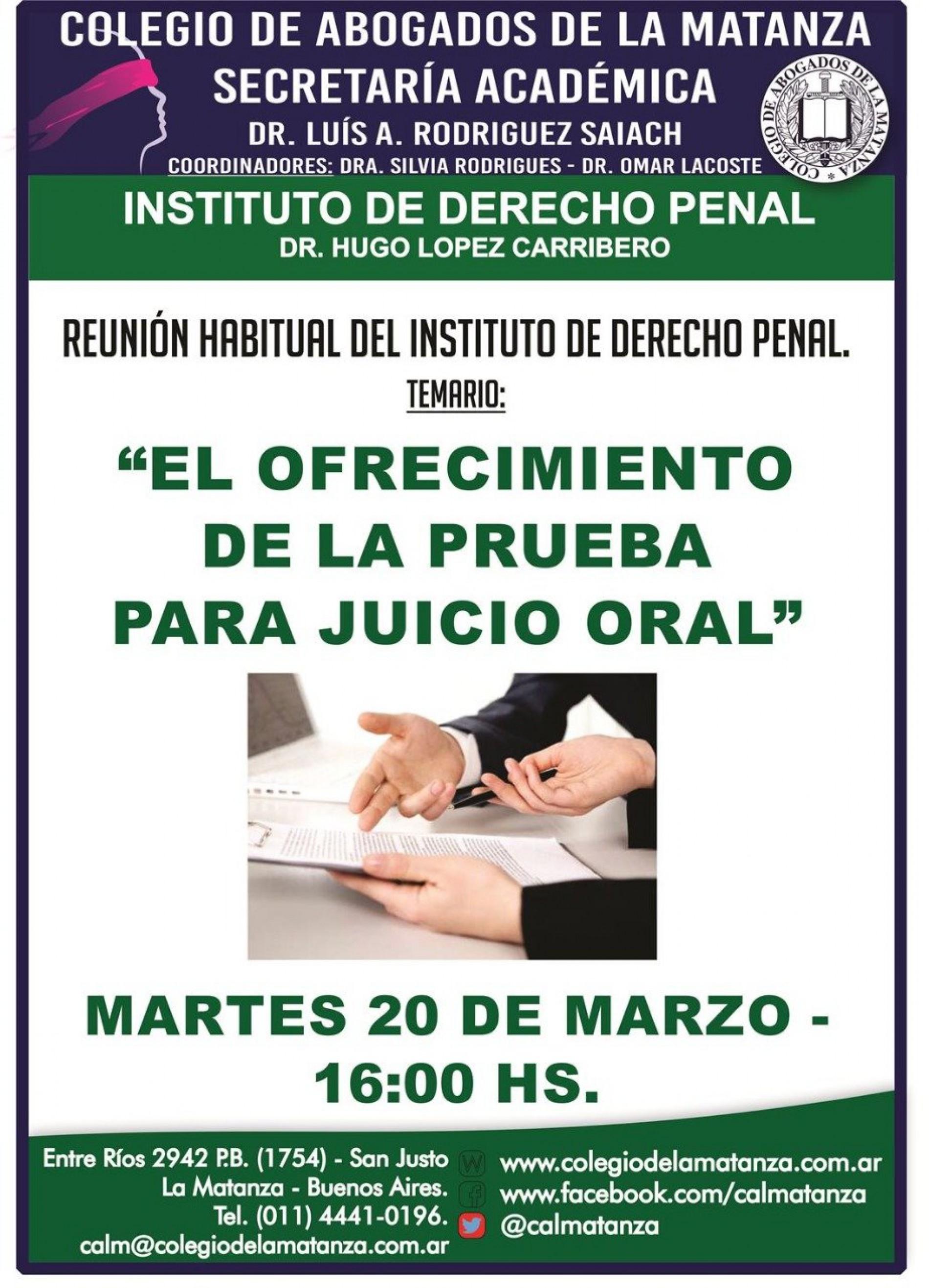 El ofrecimiento de la prueba para Juicio Oral