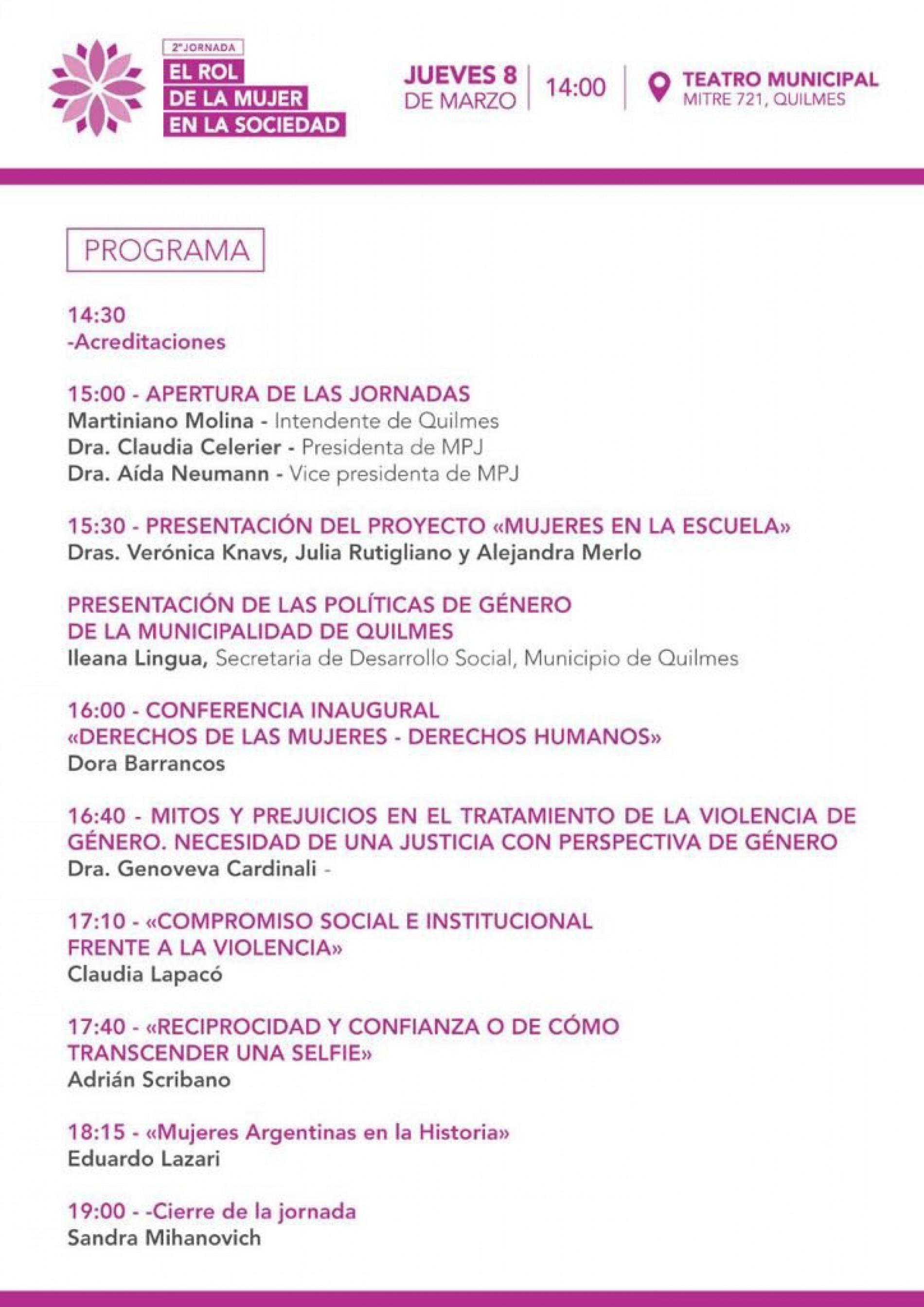 2da Jornada «El rol de la mujer en la sociedad»